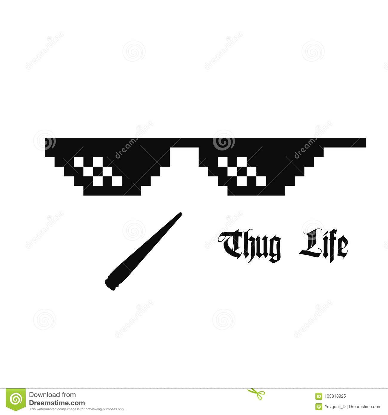 aa2b1b436 Thug life meme glasses with cannabis joint isolated on white background.
