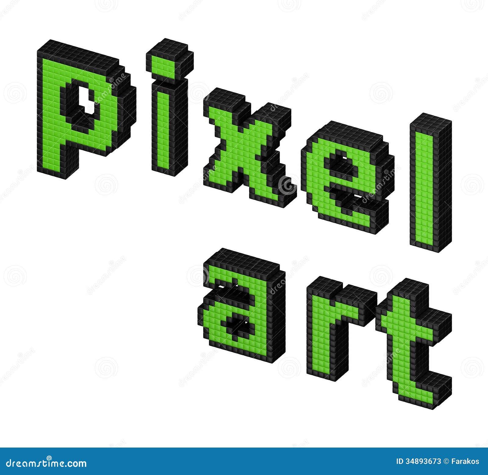 Pixel Art Green Text Stock Photos
