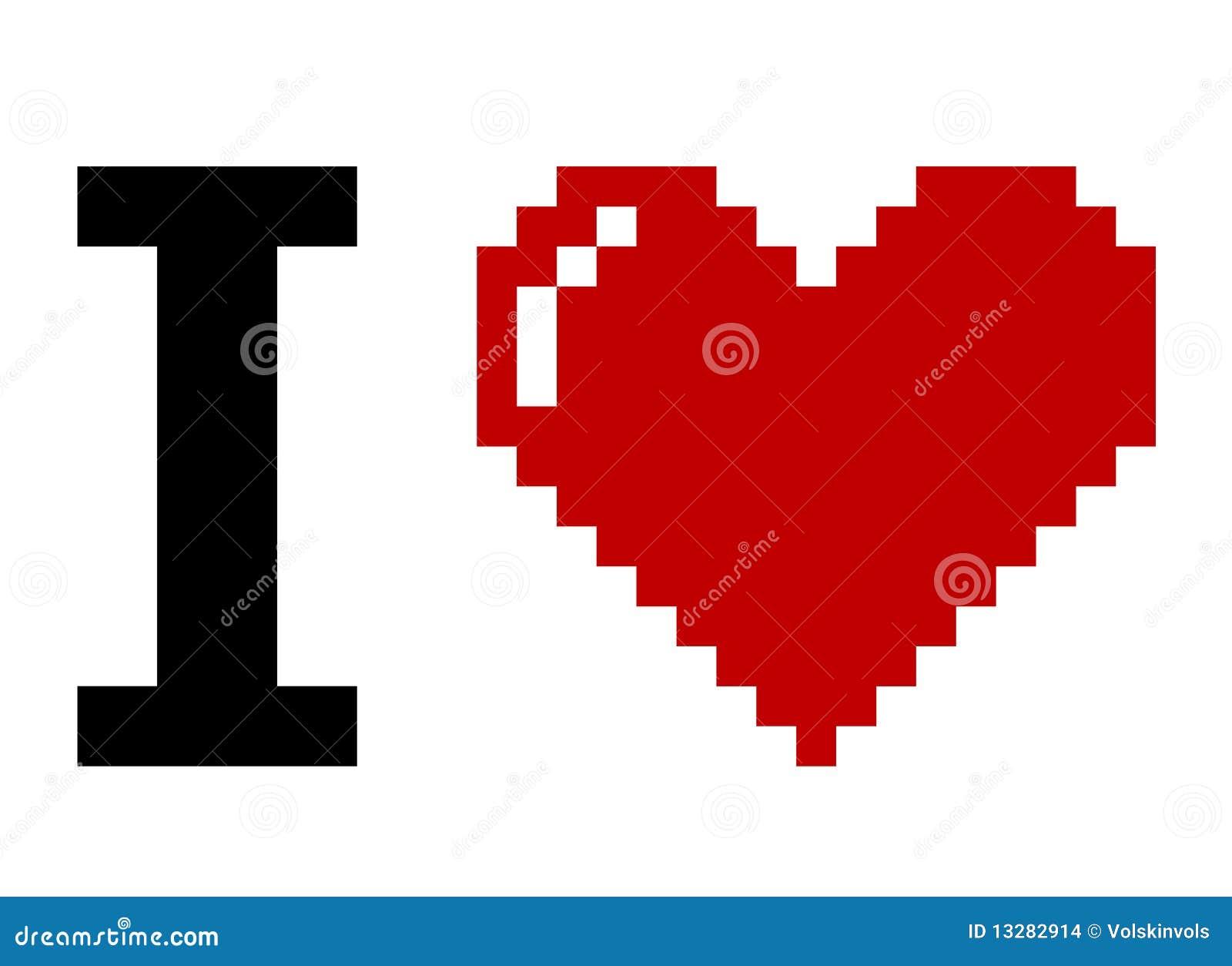pixel art i love you stock illustration image of color 13282914. Black Bedroom Furniture Sets. Home Design Ideas
