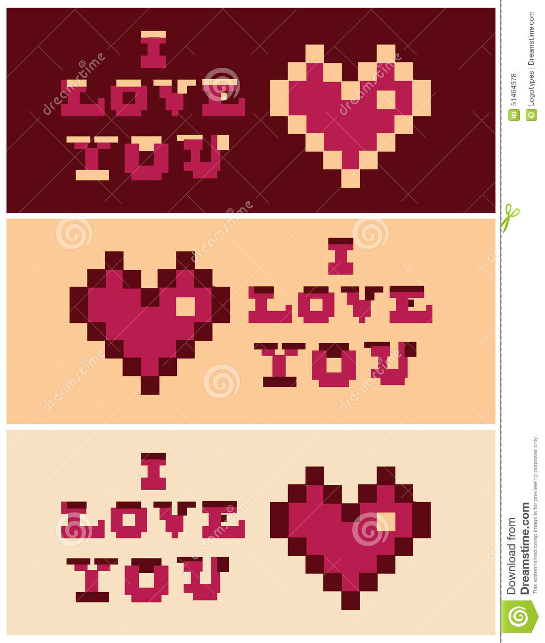pixel art i love you heart and text set banners stock illustration image 51464378. Black Bedroom Furniture Sets. Home Design Ideas