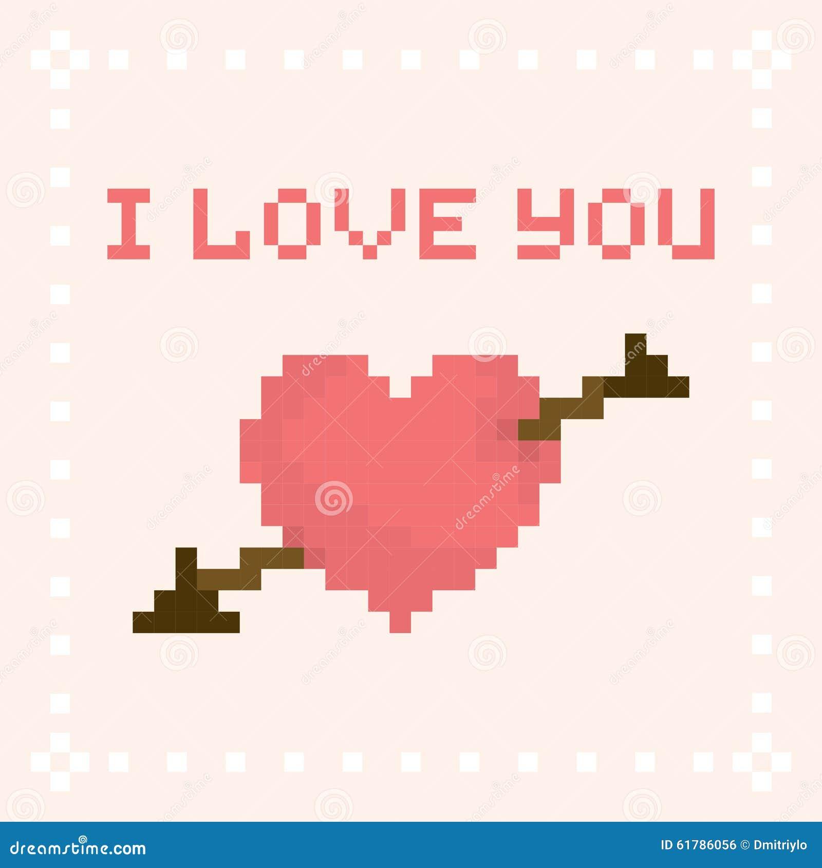 pixel art i love you valentines day card stock vector image 61786056. Black Bedroom Furniture Sets. Home Design Ideas