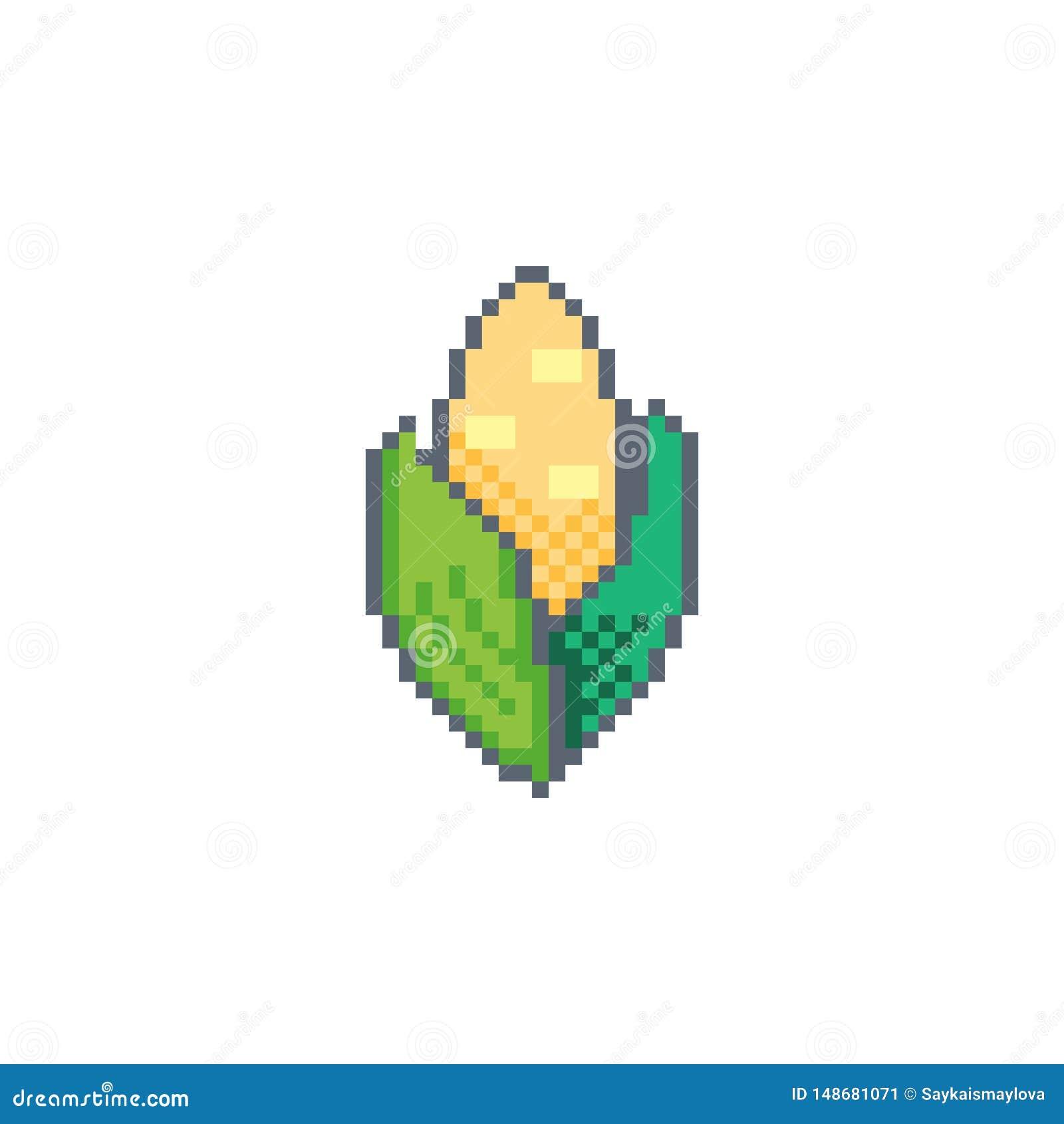 Pixel Art Corn Icon Vector Design Stock Vector