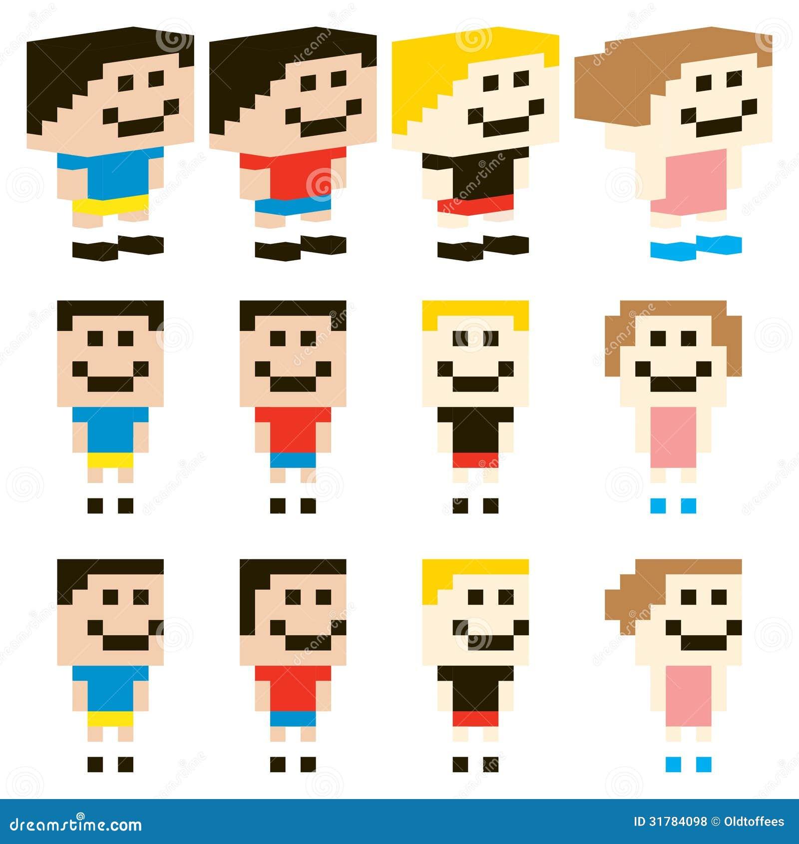 Character Design Pixel Art : Pixel art kids character design do vetor fotos de stock