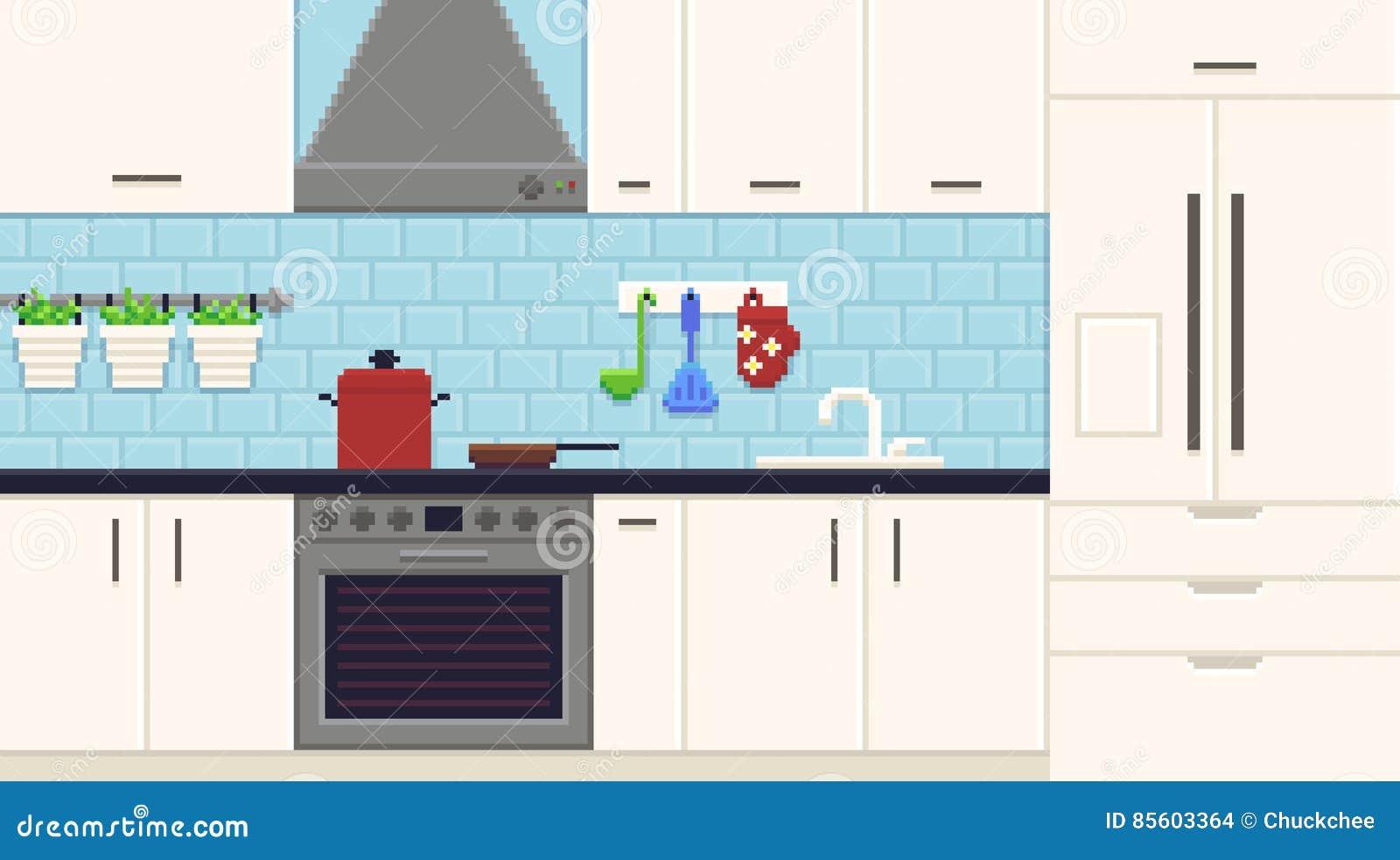 Pixel Art Kitchen stock vector. Illustration of domestic - 85603364