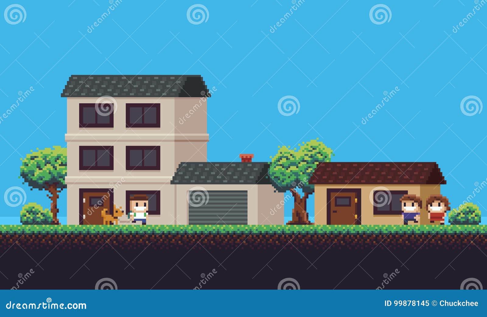 Pixel Art Neighborhood