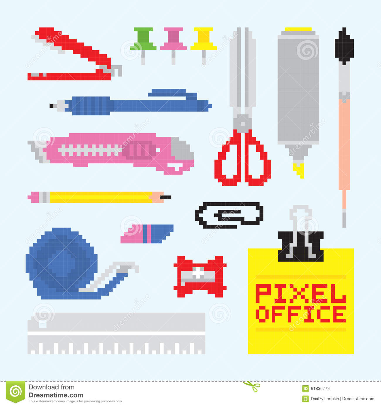 pixel art office tools vector set stock vector illustration of