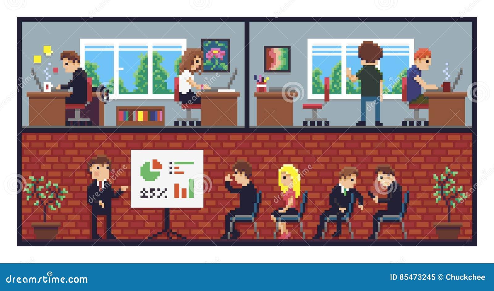 pixel art office stock vector illustration of space 85473245