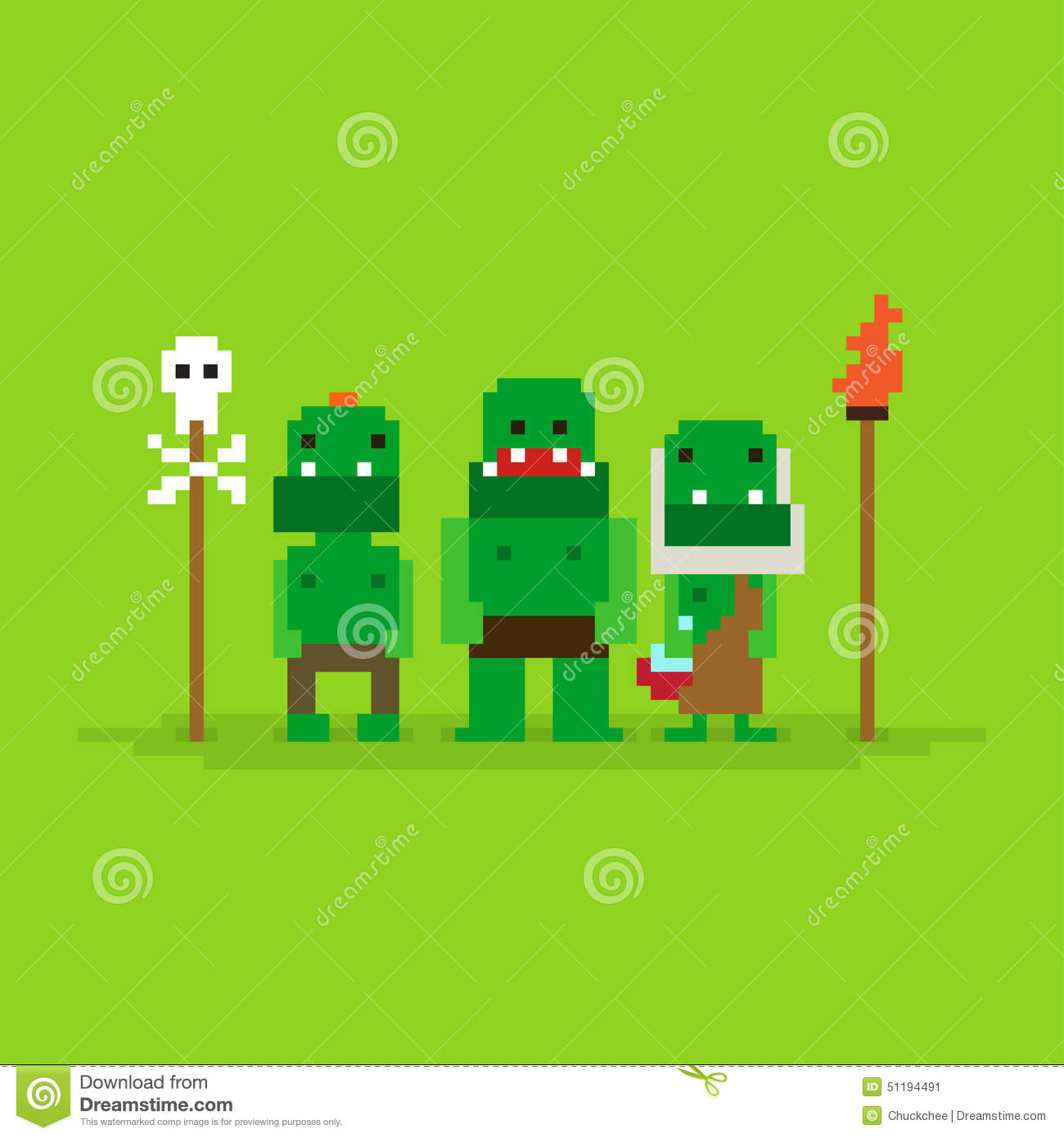 Pixel Art Orcs Stock Vector