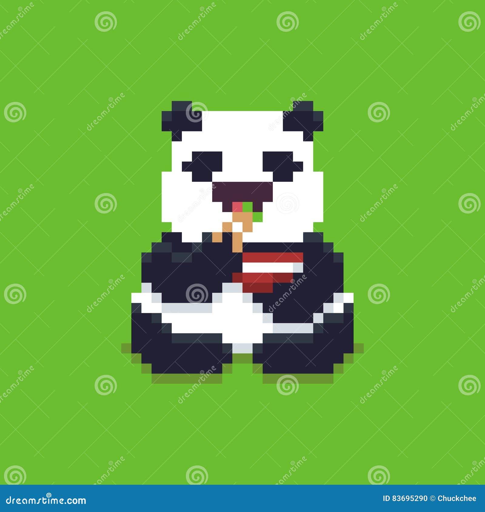 Pixel Art Panda Vector Illustratie Illustratie Bestaande Uit