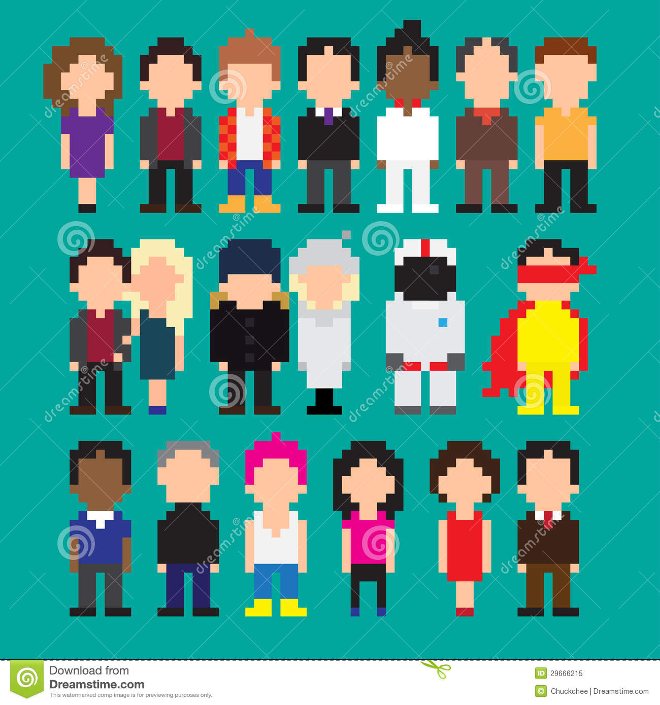 One Line Pixel Art : Pixel art people stock illustration image of business