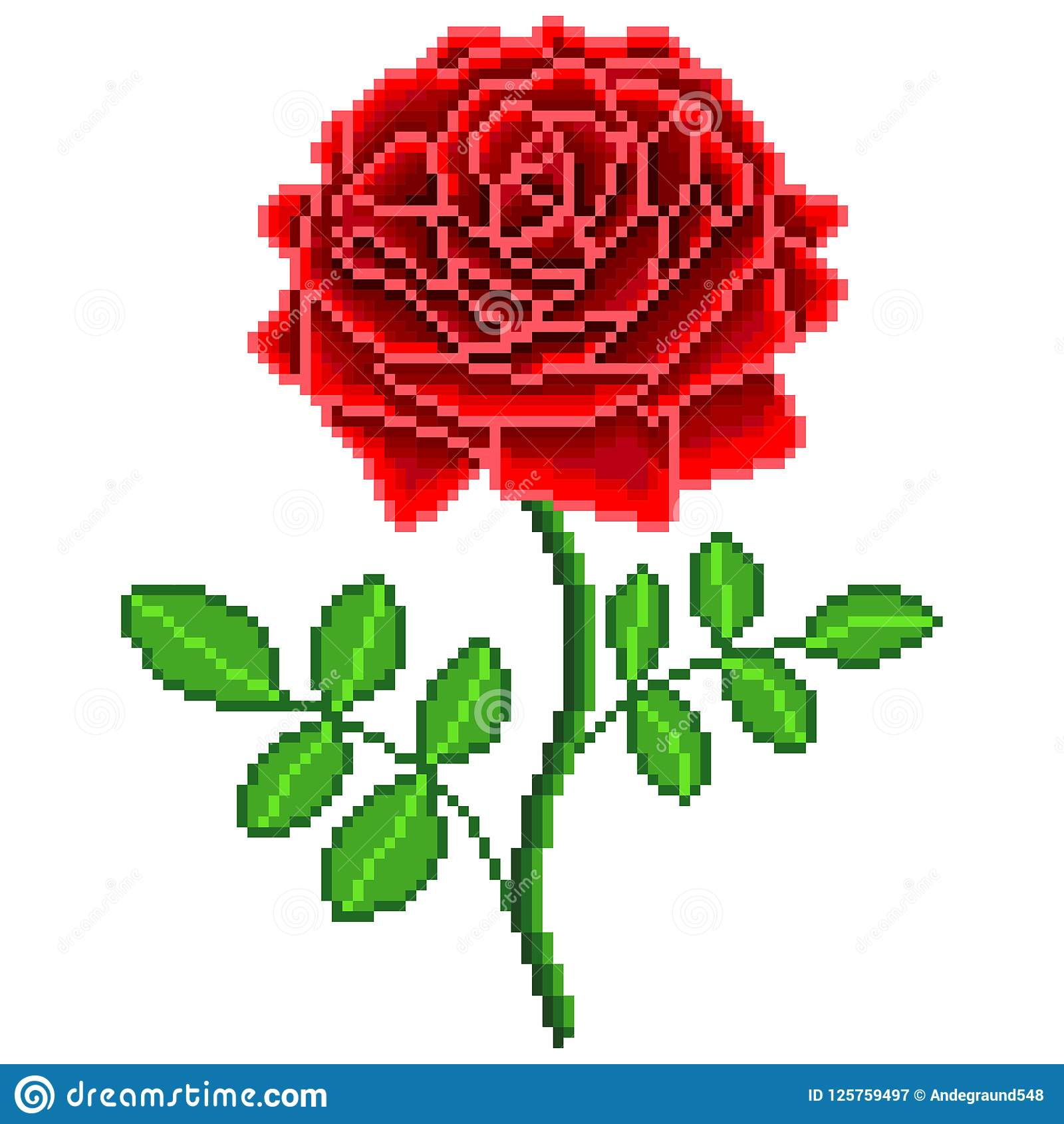 Pixel Red Rose Flower Detailed Isolated Vector Stock