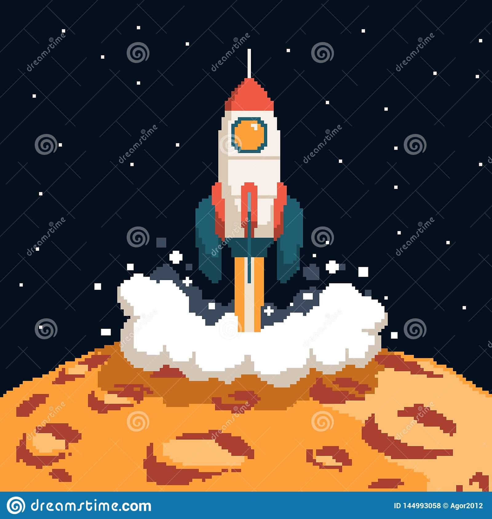 Pixel Art Rockets Taking Off From Stock Vector