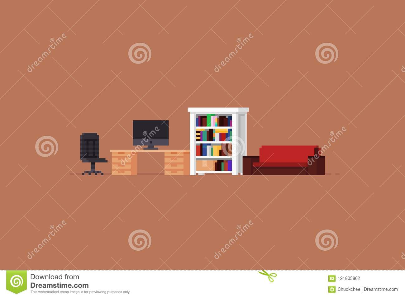 Pixel Art Room Stock Vector Illustration Of 8bit Modern