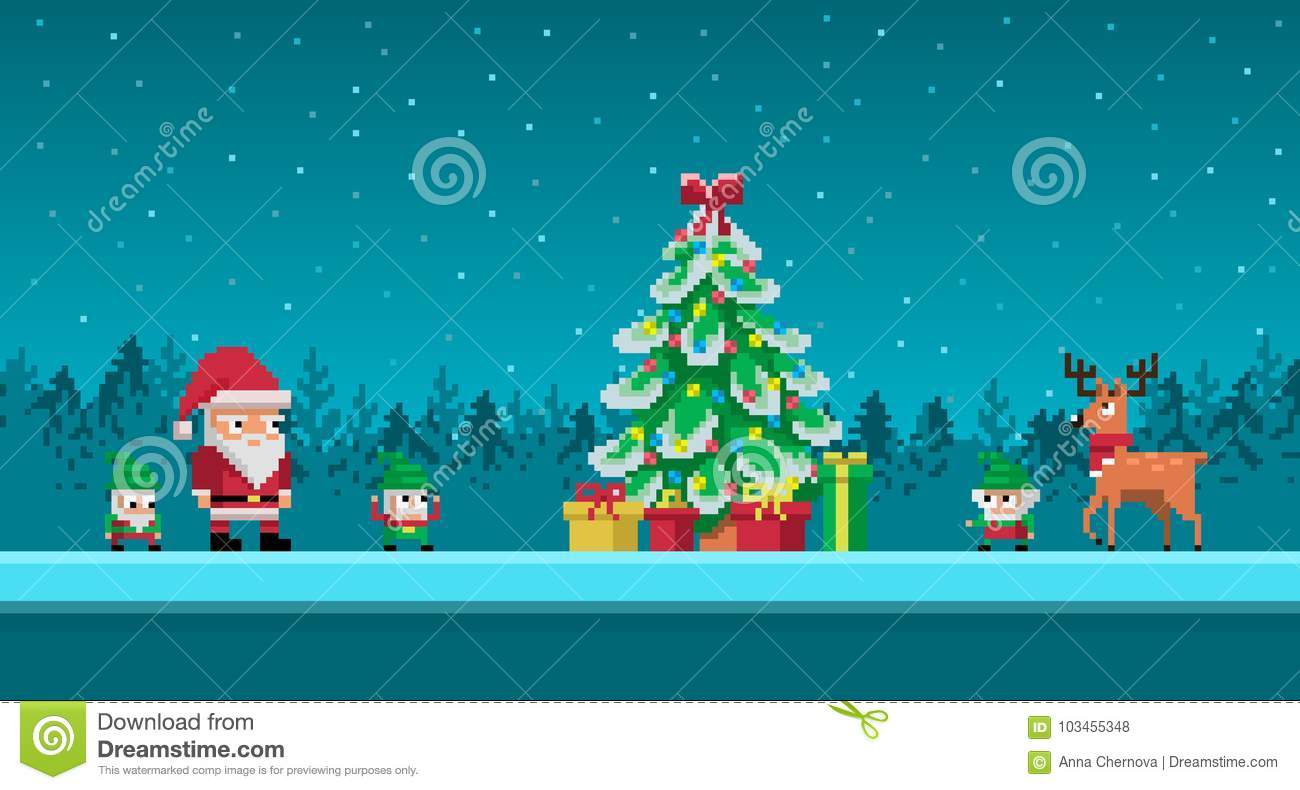 83af1c60dd01 Pixel art scene with santa claus and gnomes around christmas tree. Vector  illustration. More similar stock illustrations