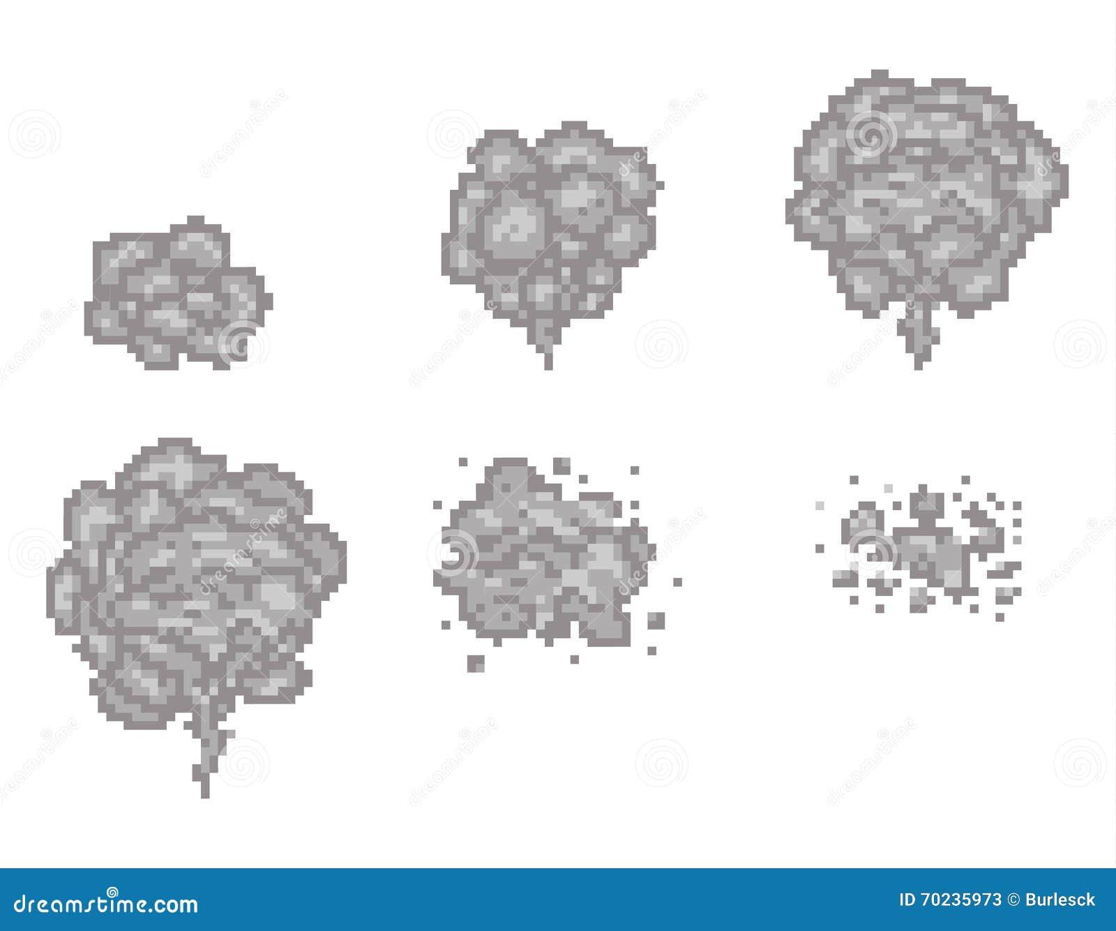 Pixel Art Smoke Animation Vector Frames For Game Design Stock Vector ...