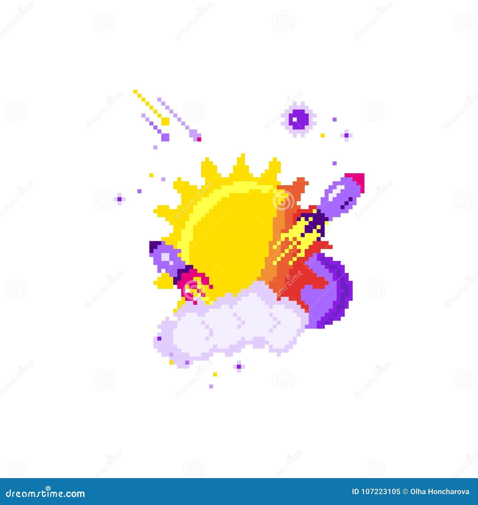 Vector Flat Pixel Rocket On White Background