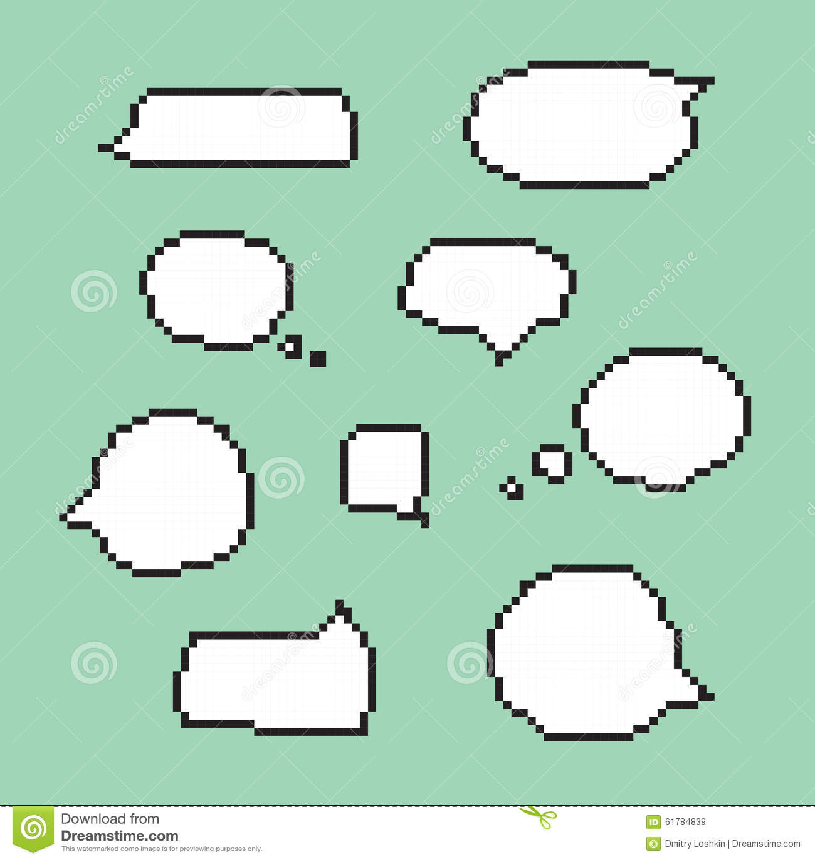 Pixel Art Speech Bubbles Isolated Vector Stock Vector