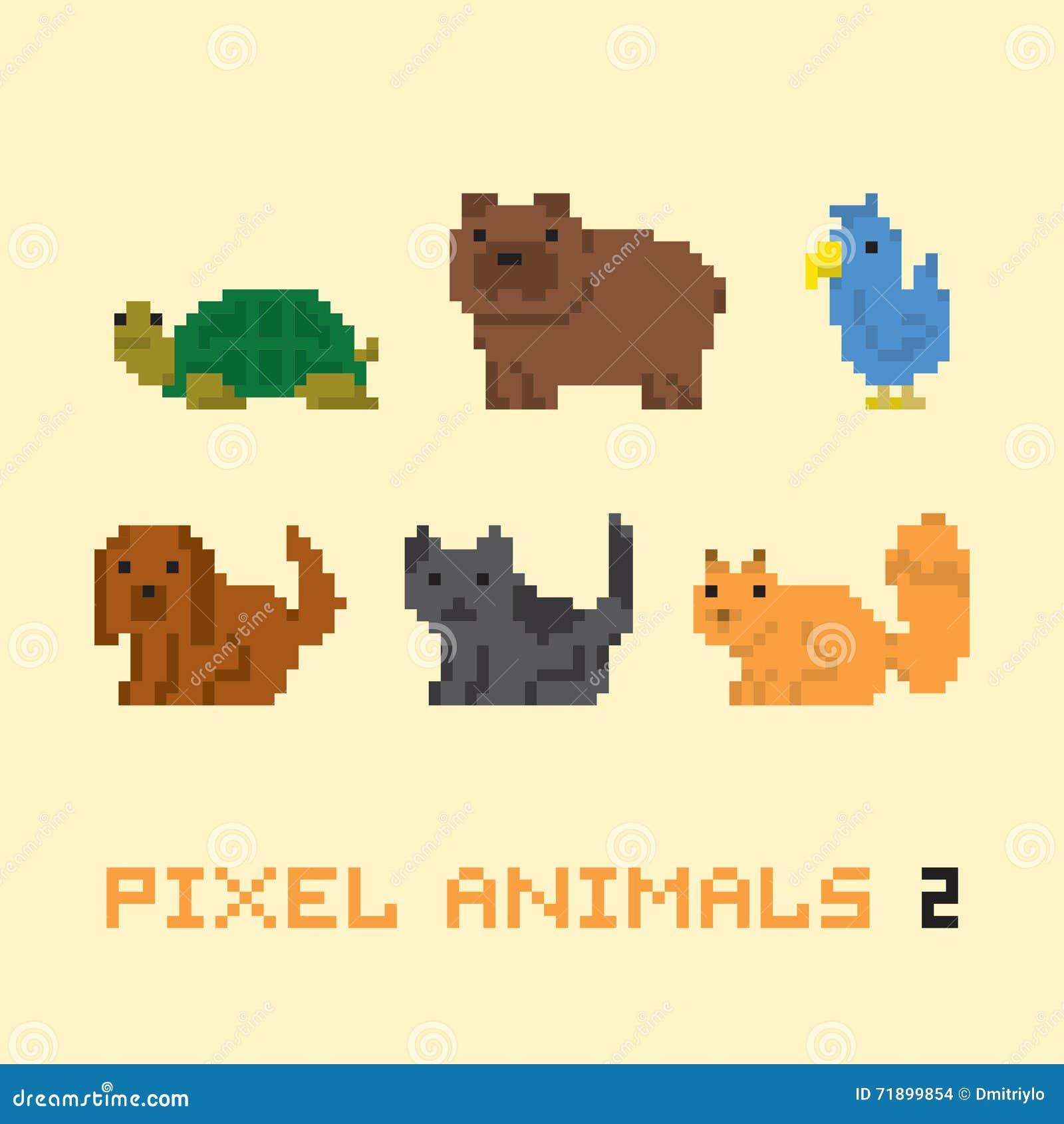 pixel art style animals cartoon vector set 2 stock vector