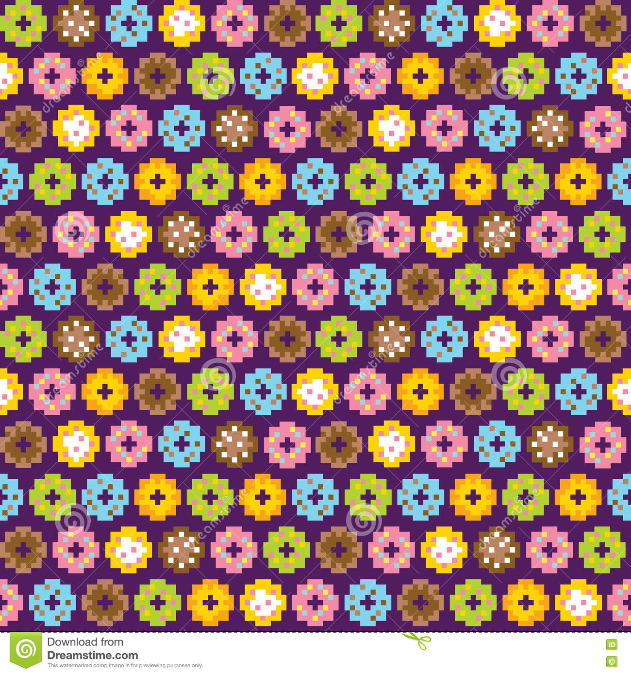 Pixel Art Style Donuts Colorful Seamless Vector Background