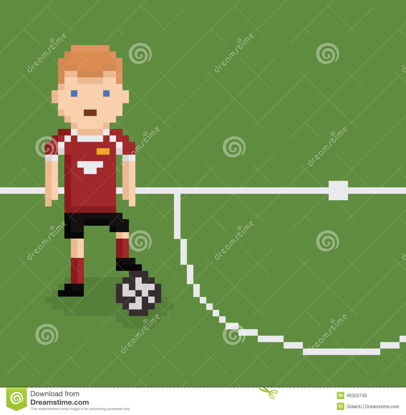 Pixel Art Style Illustration Football Soccer Stock Vector