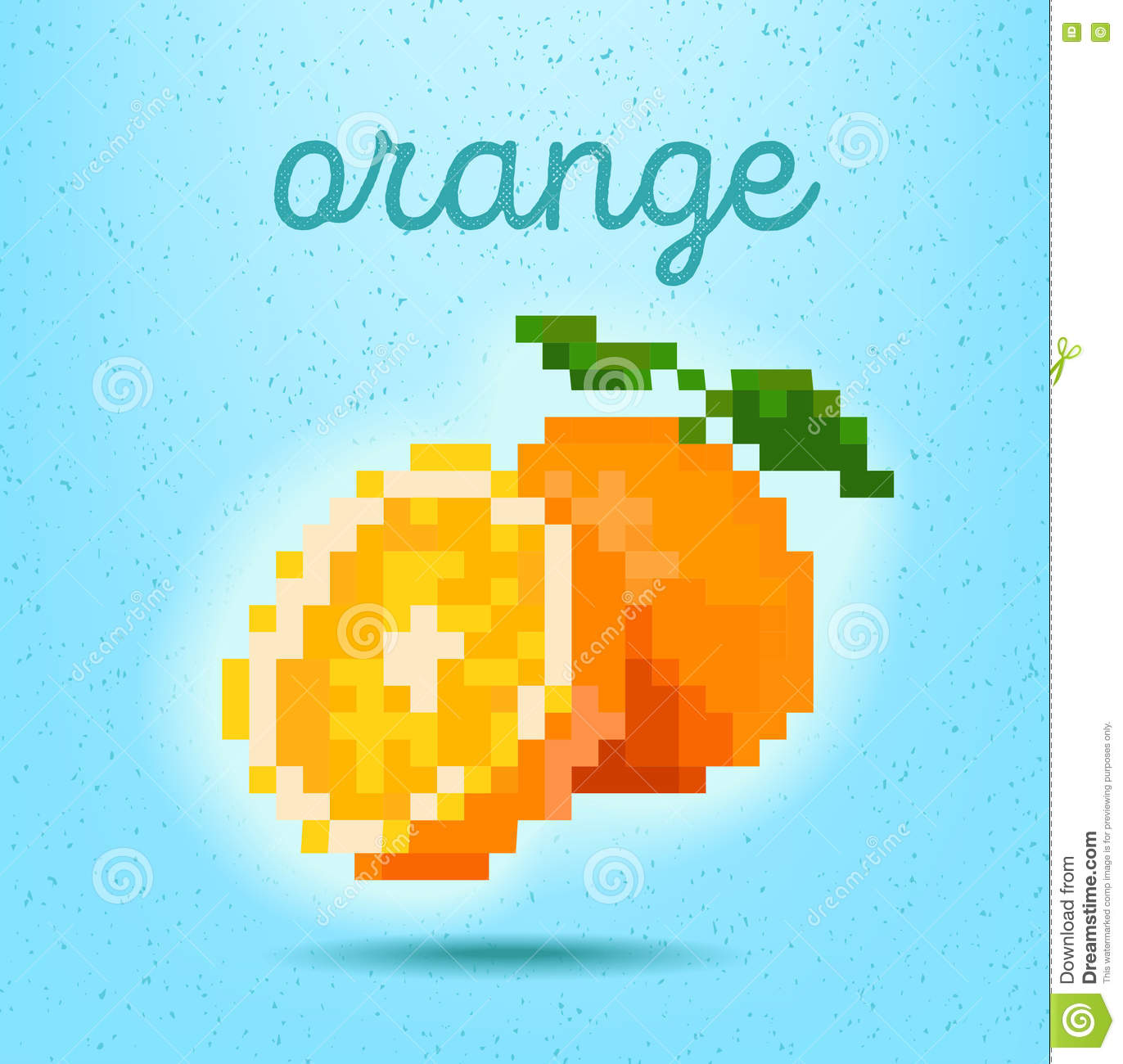 Pixel-art Style Poster With Orange Fruit Citrus On Light