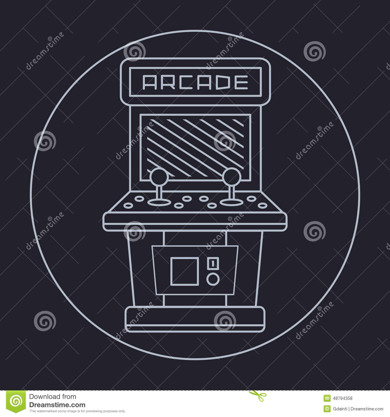 Simple Line Art Background : Pixel art style simple line drawing of arcade stock vector