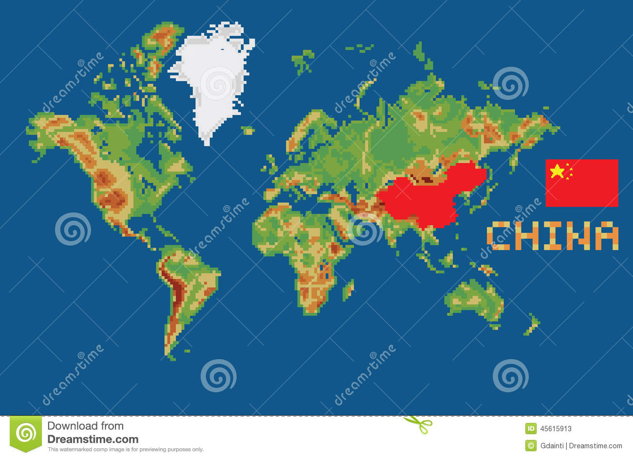 Pixel Art Style World Map With Shape China Borders Stock Vector