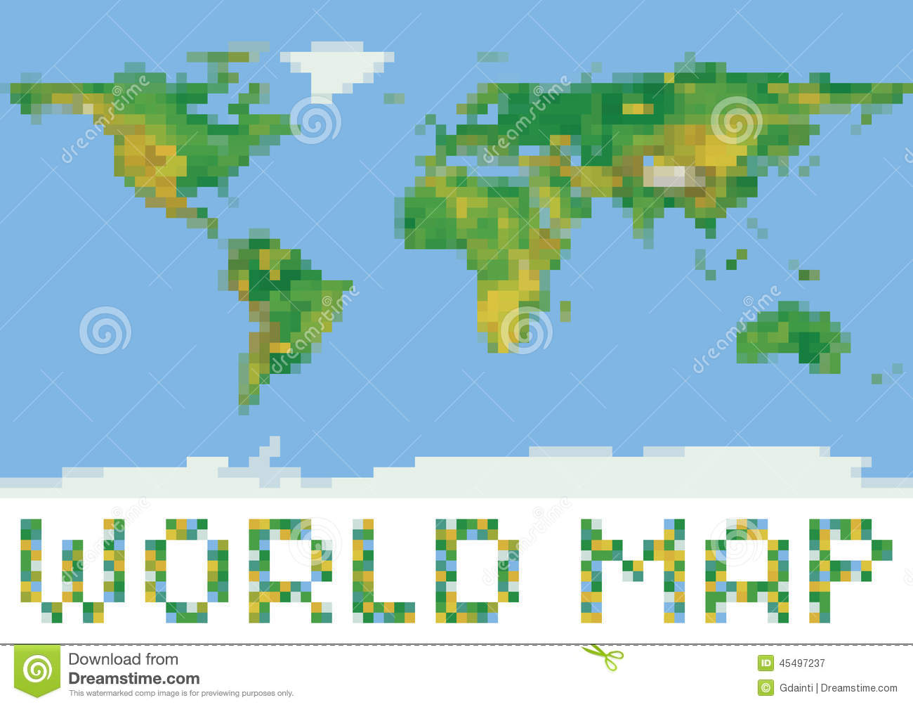 Pixel art style world physical map with green and stock vector pixel art style world physical map with green and gumiabroncs Choice Image