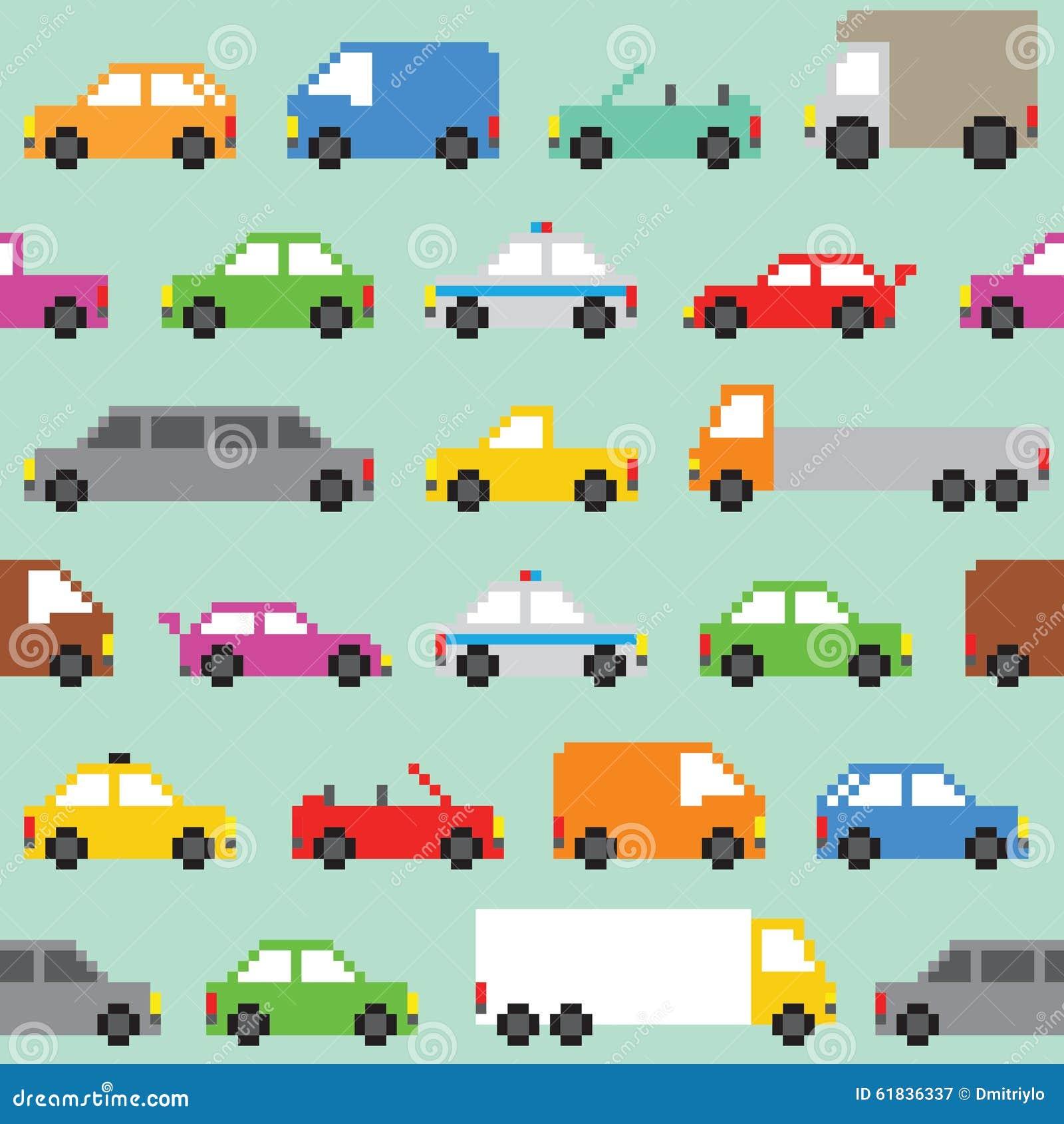 Pixel Art Traffic Seamless Vector Pattern Stock Vector