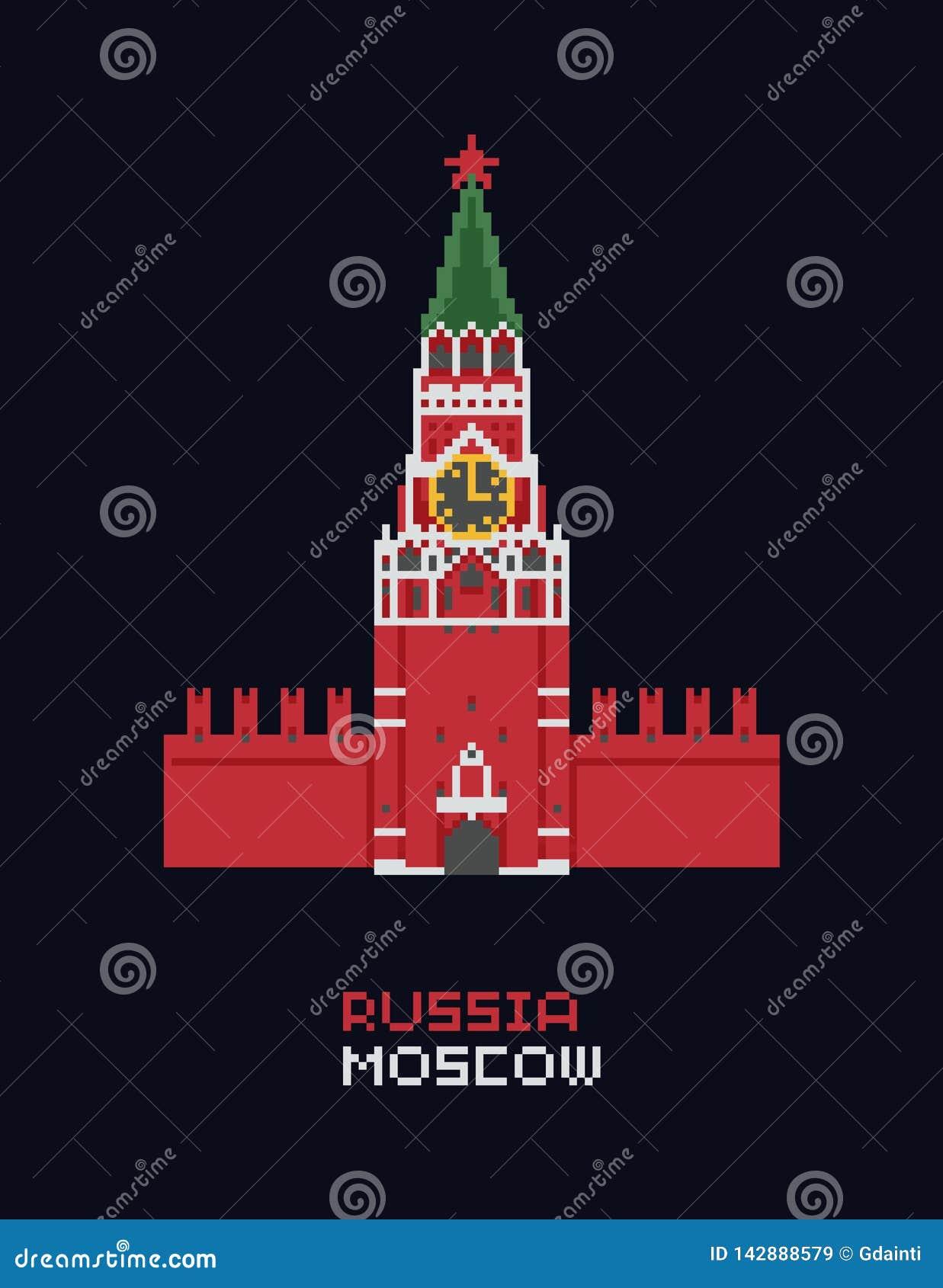 Pixel Art Vector Illustration Russia Moscow Kremlin Spasskaya