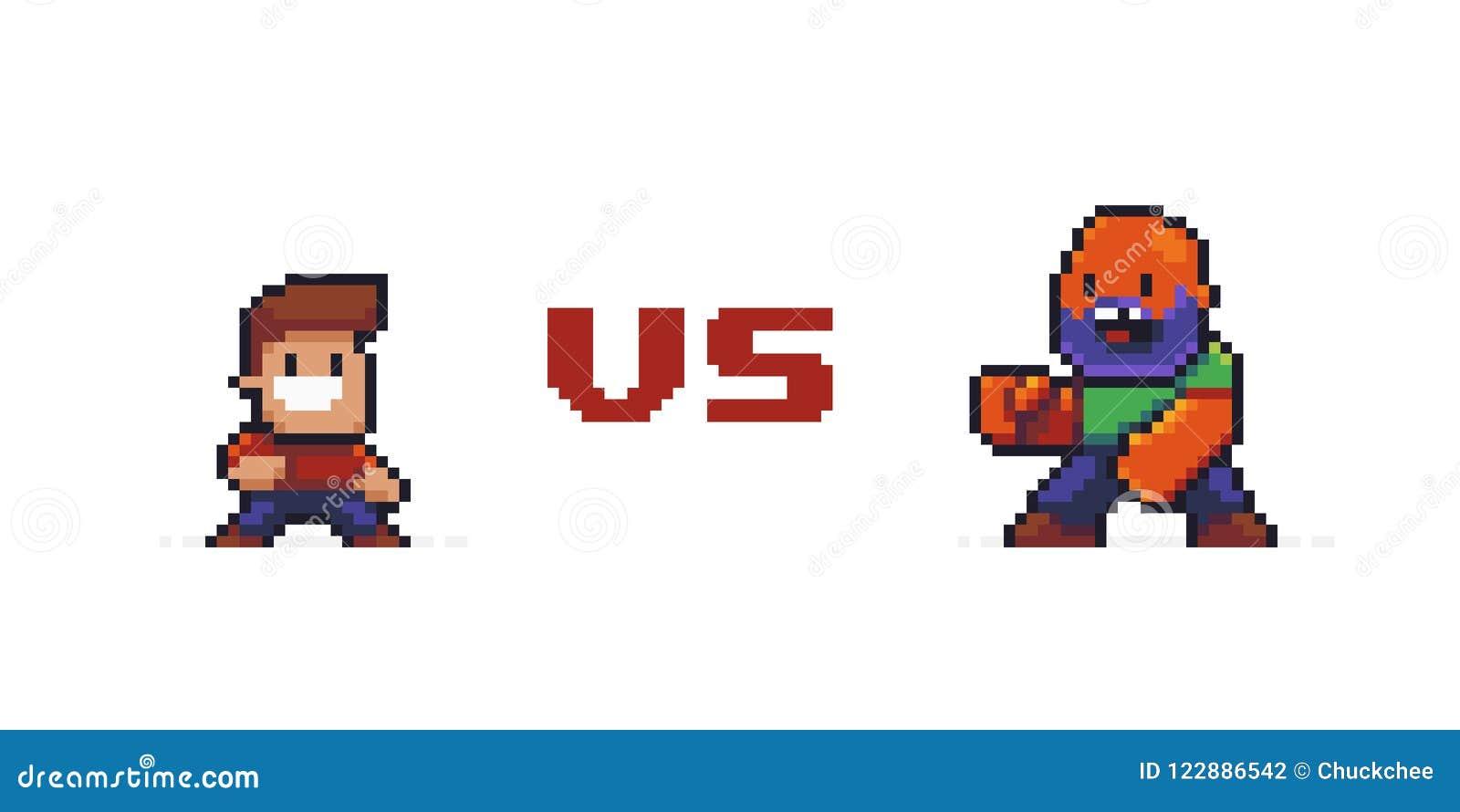 Pixel Art Versus Illustration De Vecteur Illustration Du