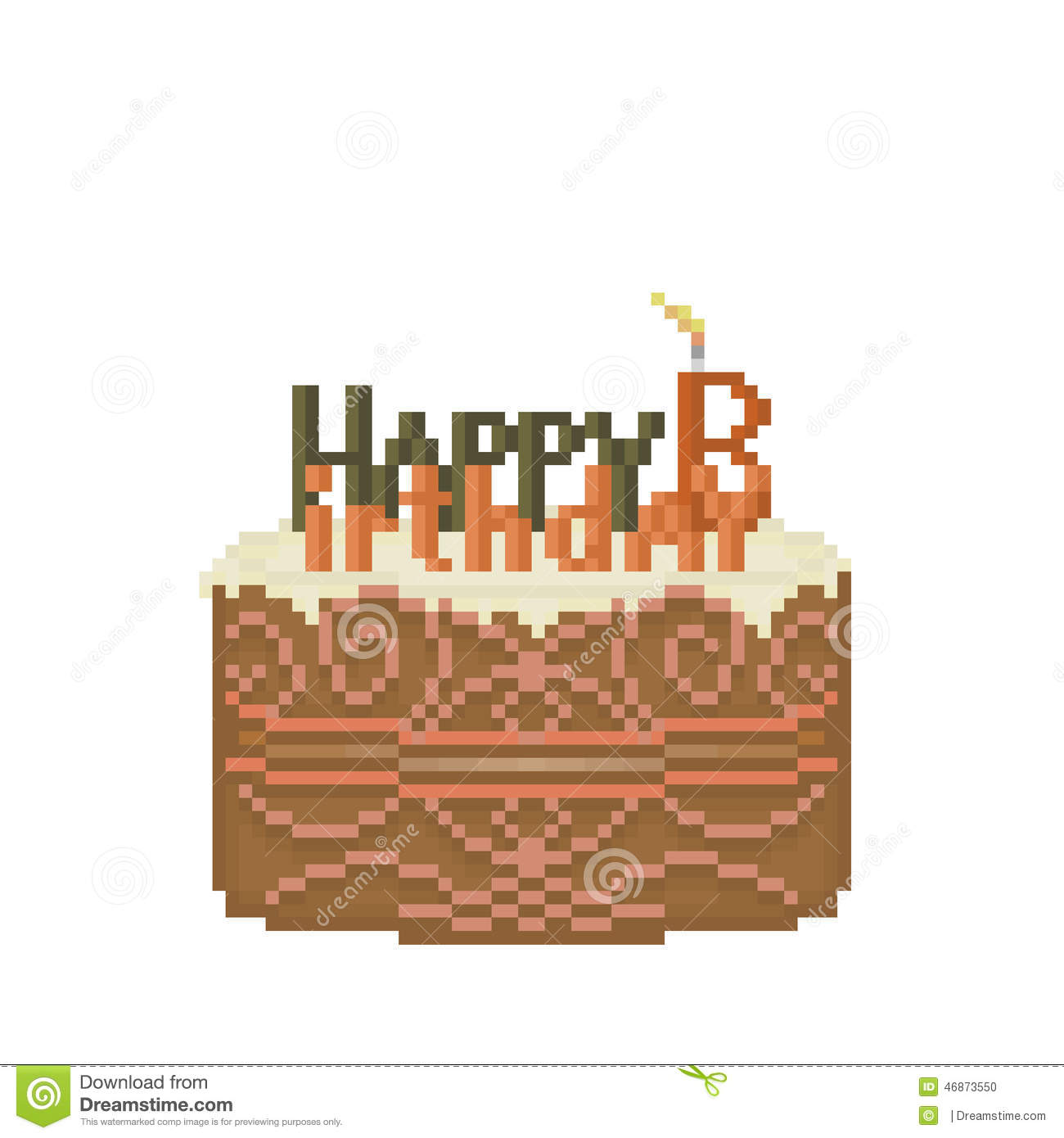 Pixel Birthday Cake Stock Photo Illustration Of Retro
