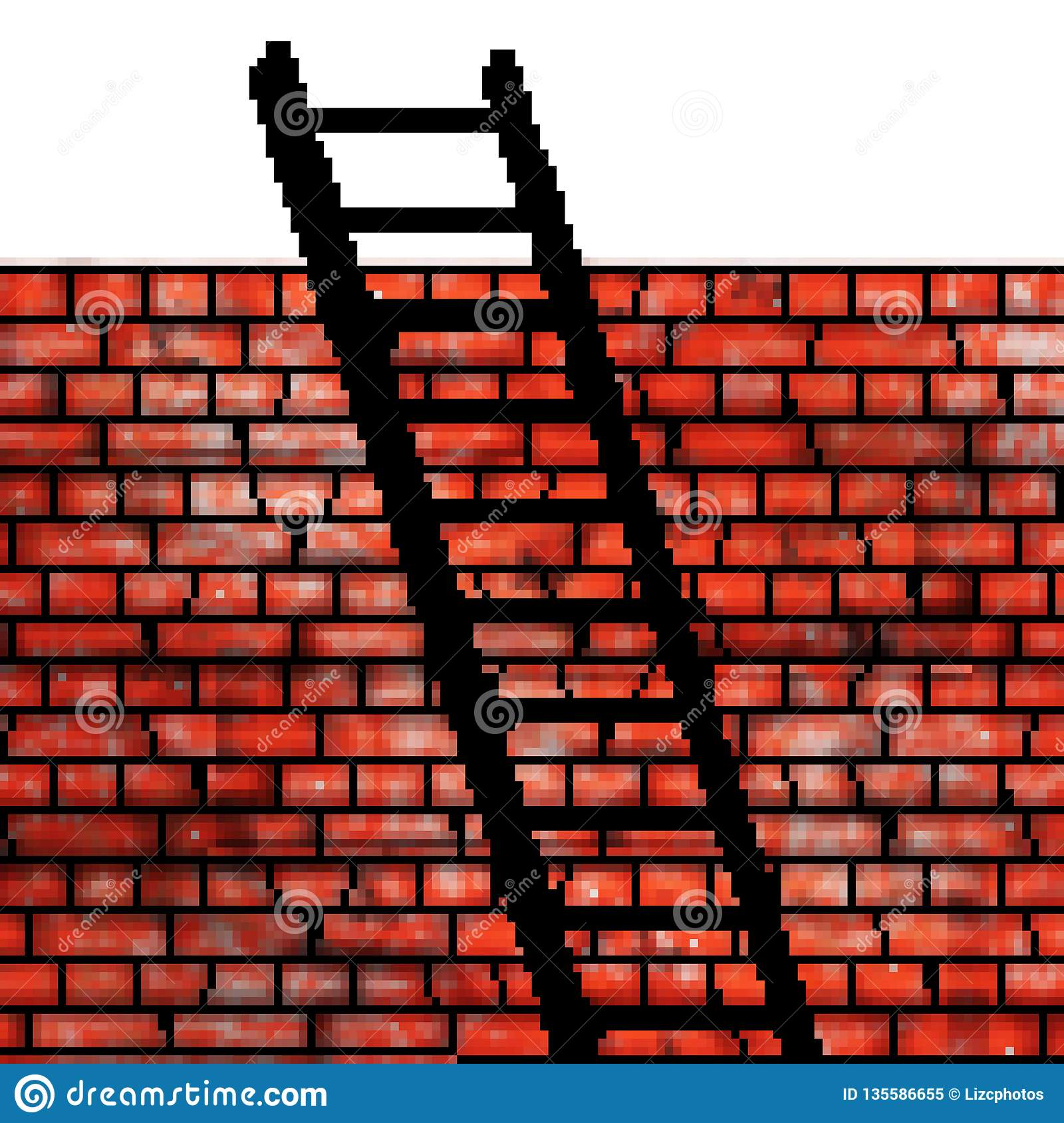 Pixel 8 bit drawn brick wall with a ladder leaning on it