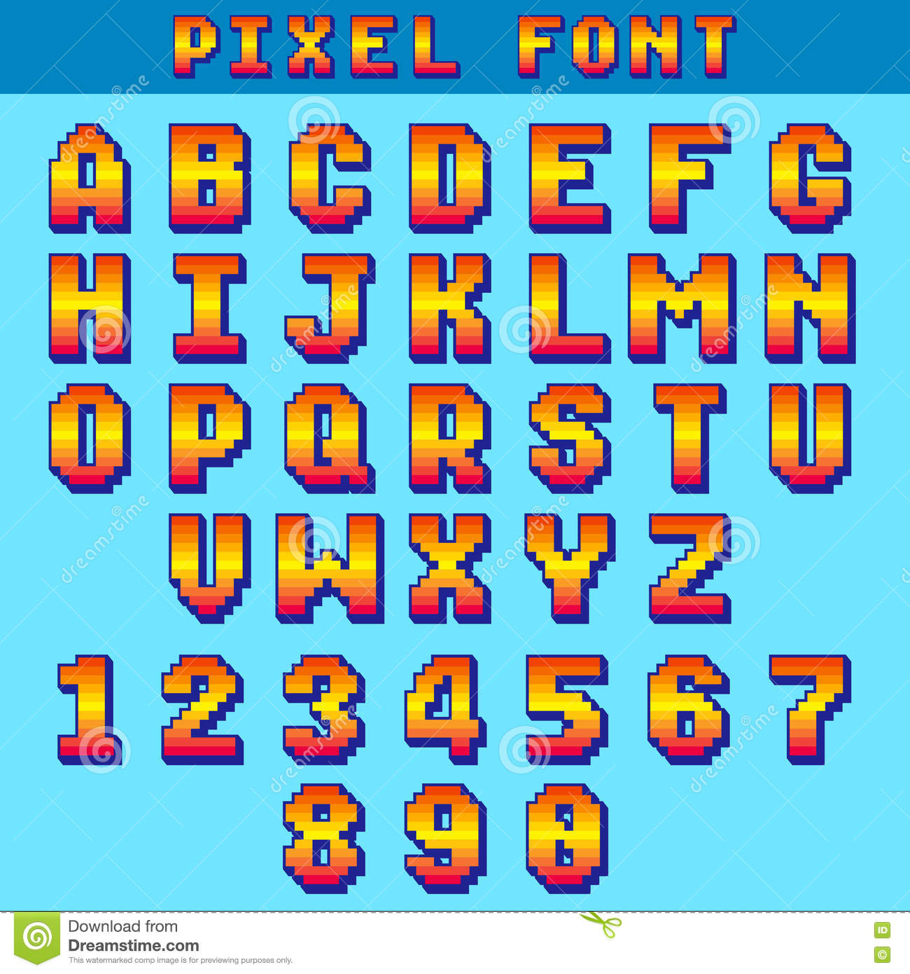 Pixel 8 Bit Letters And Numbers Vector Game Font, Digital