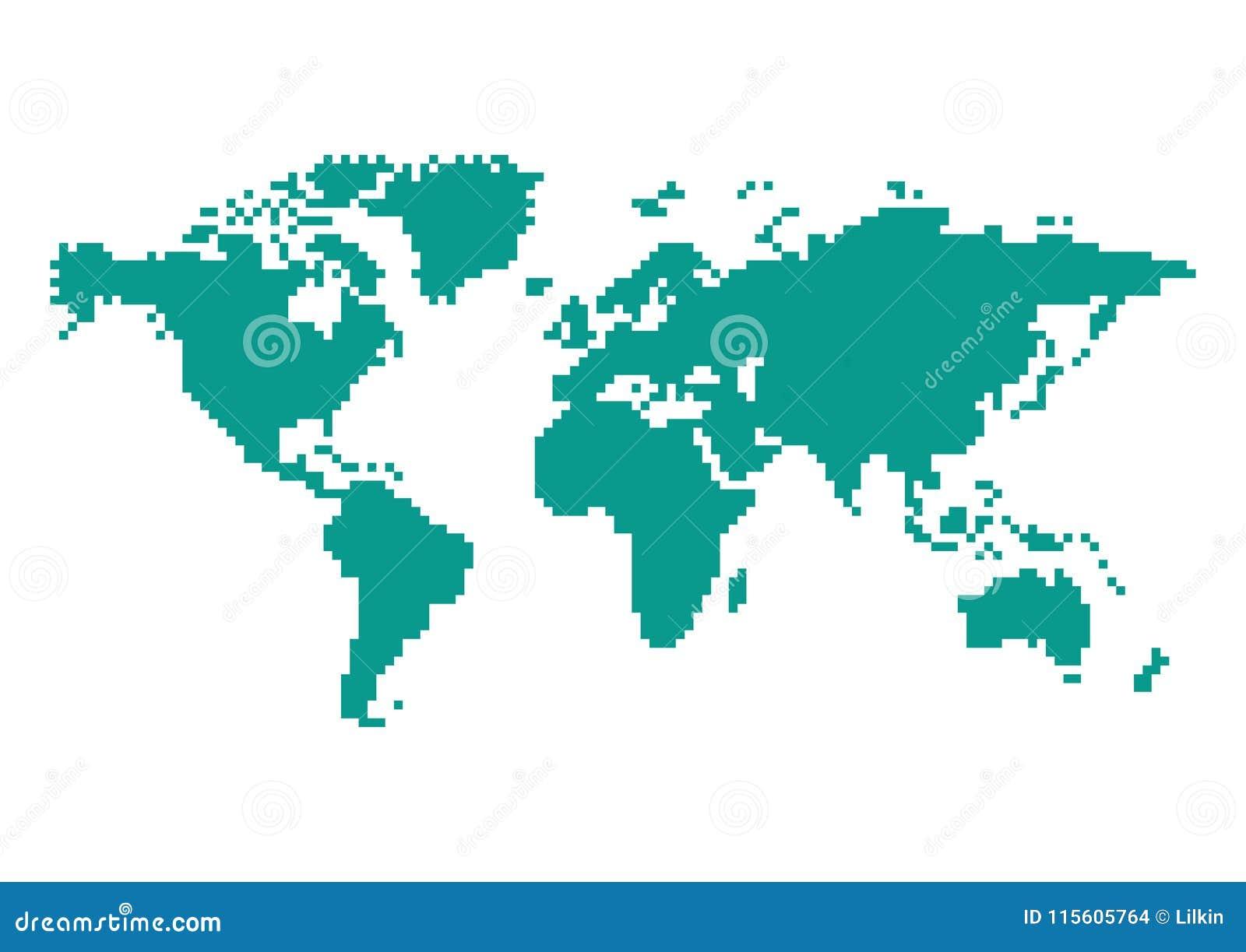 Pixel 8 Bit World Map Illustration Stock Vector   Illustration of