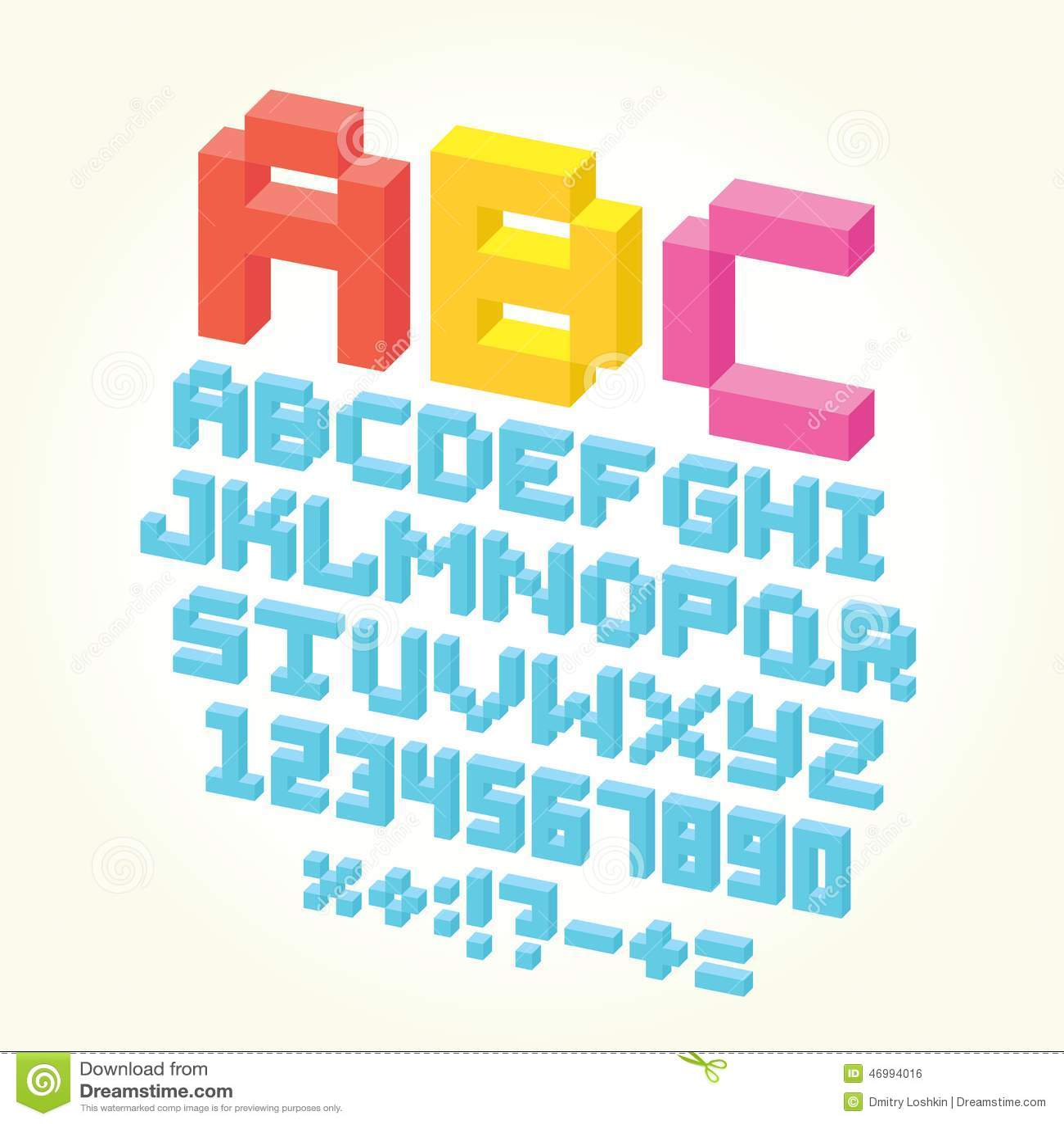 Pixel Brick Font Isolated Vector Set Stock Vector