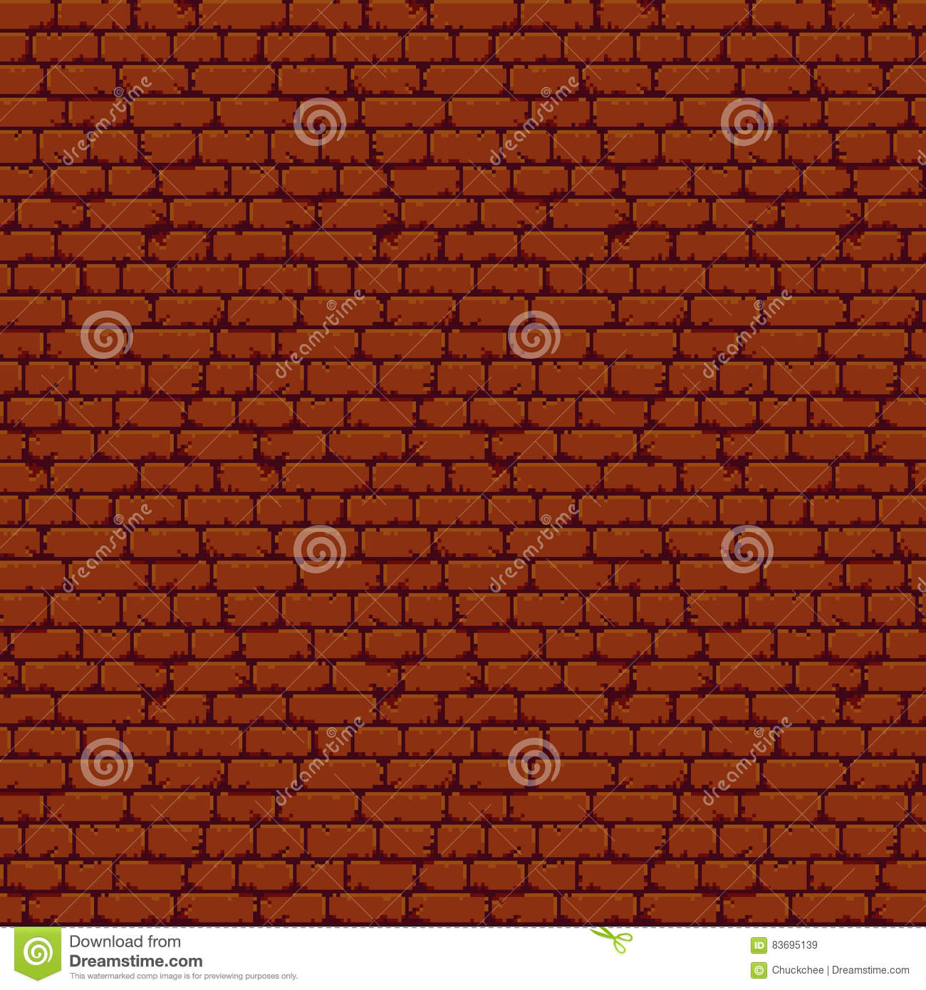 Pixel Brick Wall Stock Vector. Illustration Of Background