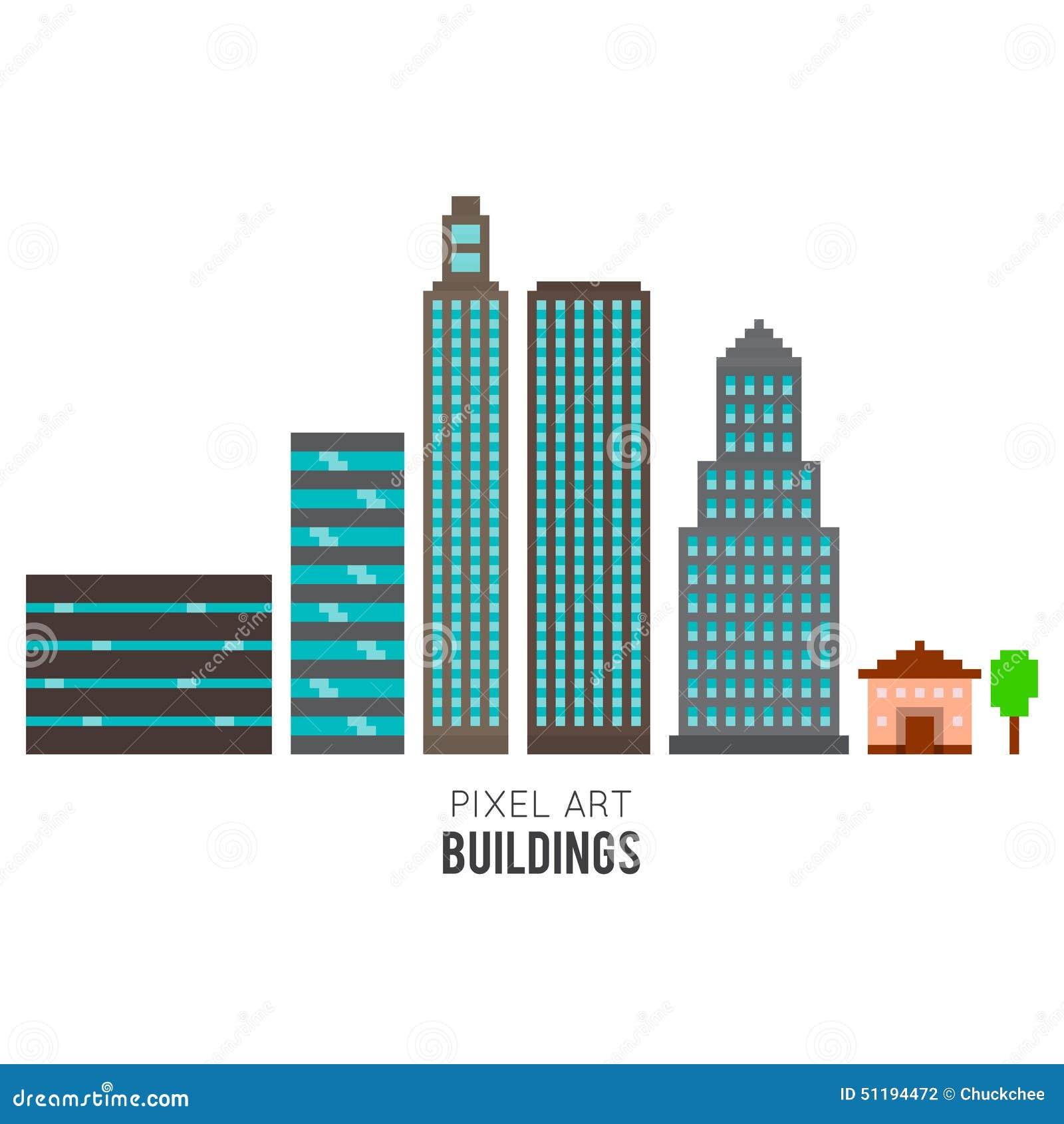 Pixel City Buildings Cartoon Vector Cartoondealer Com