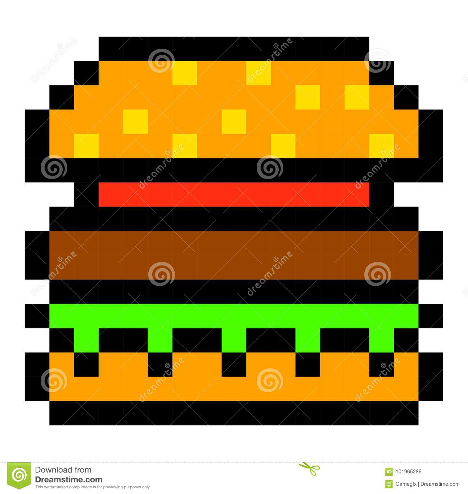 Pixel Burger Hamburger Art Cartoon Retro Game Style Stock