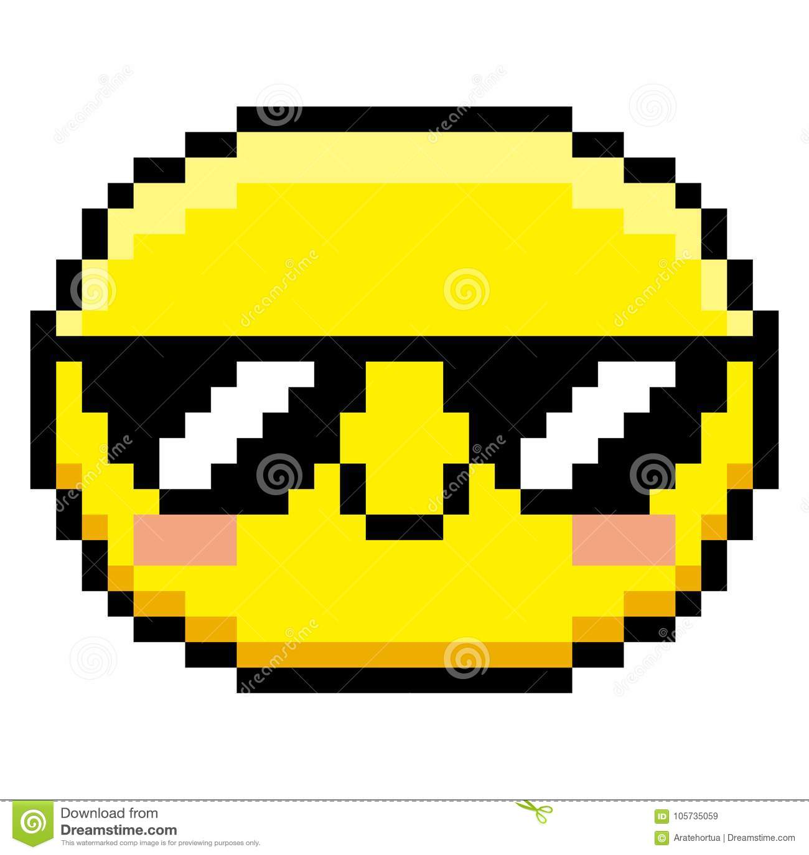 pixel cartoon face with sunglasses
