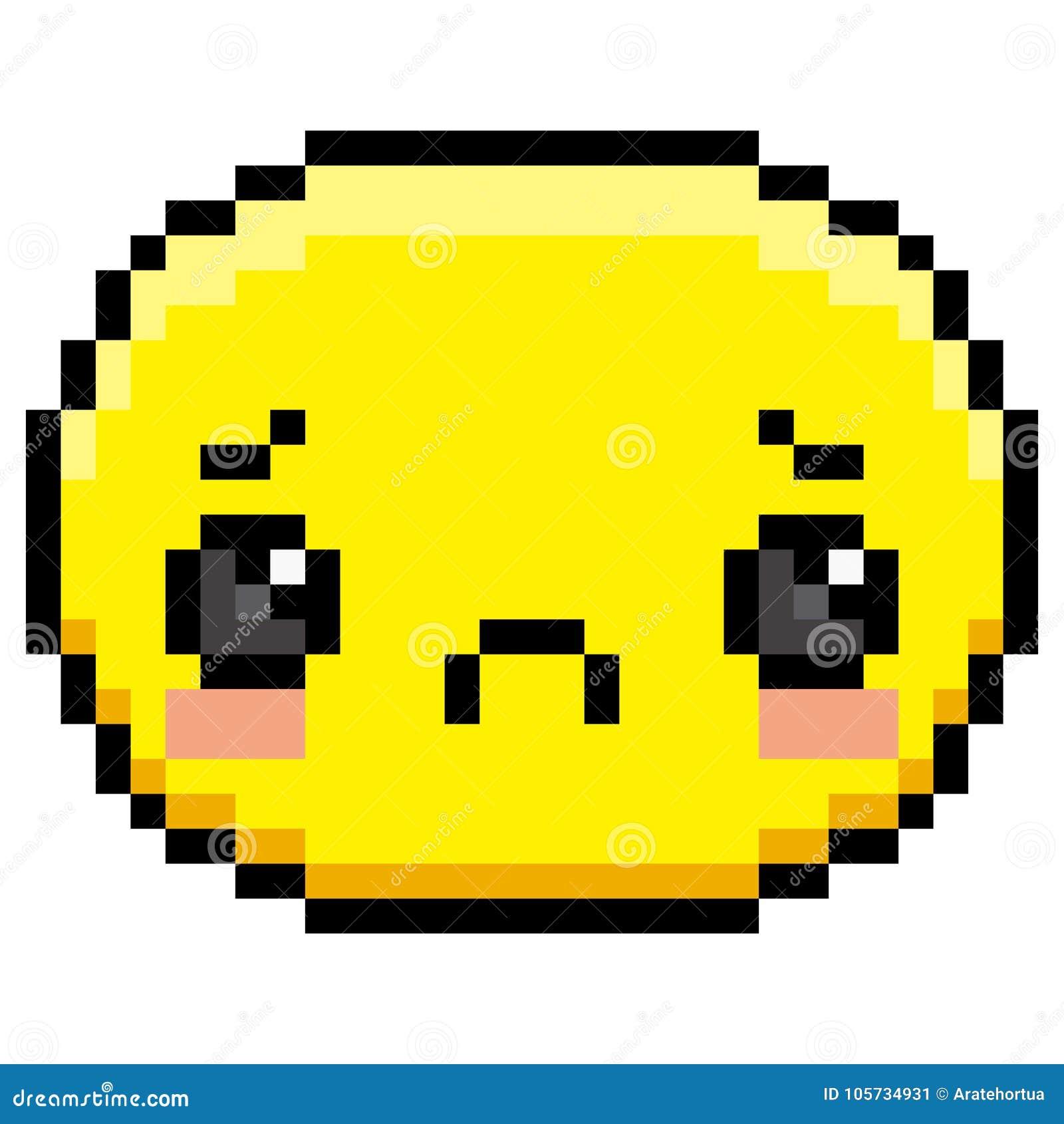 Pixel Cartoon Sad Face