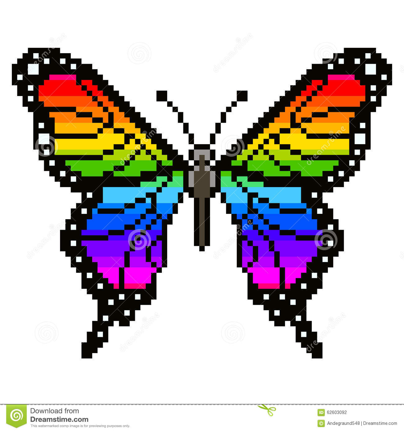 Pixel Colorful Butterfly Vector Stock Vector Illustration