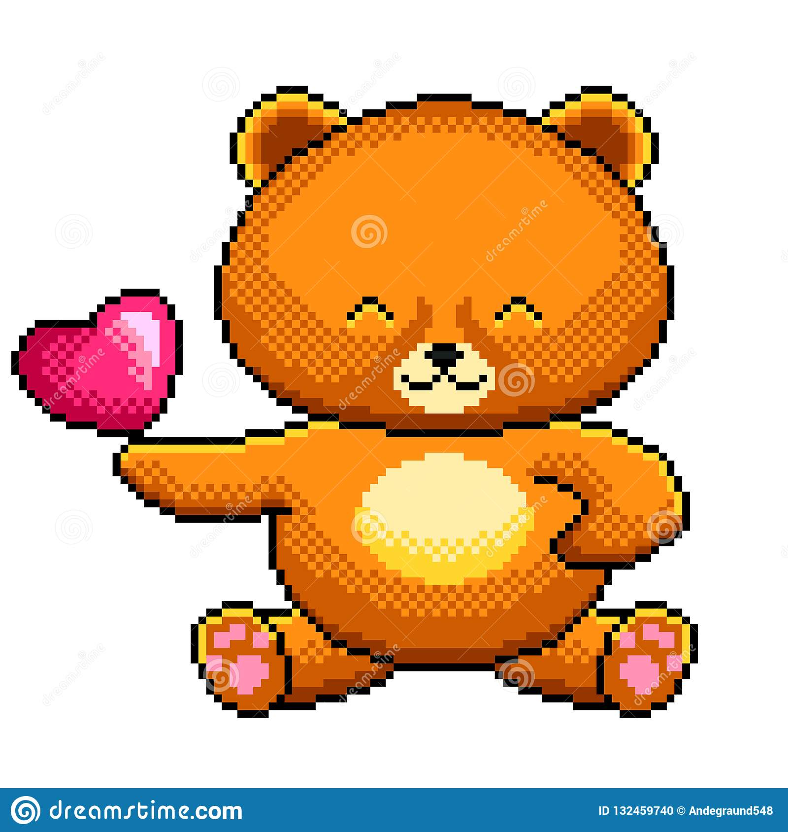 Pixel Cute Teddy Bear Detailed Illustration Isolated Vector