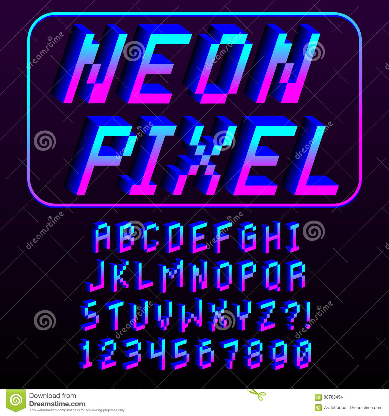 Pixel 3d Font Alphabet And Numbers Isolated Stock Illustration