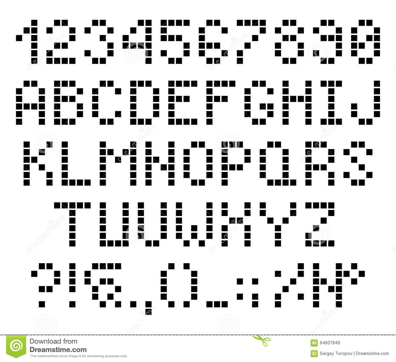 Stock Illustration Pixel Dots Letters Numbers Alphabet Font Vector Image64937949 on Minecraft Worksheets