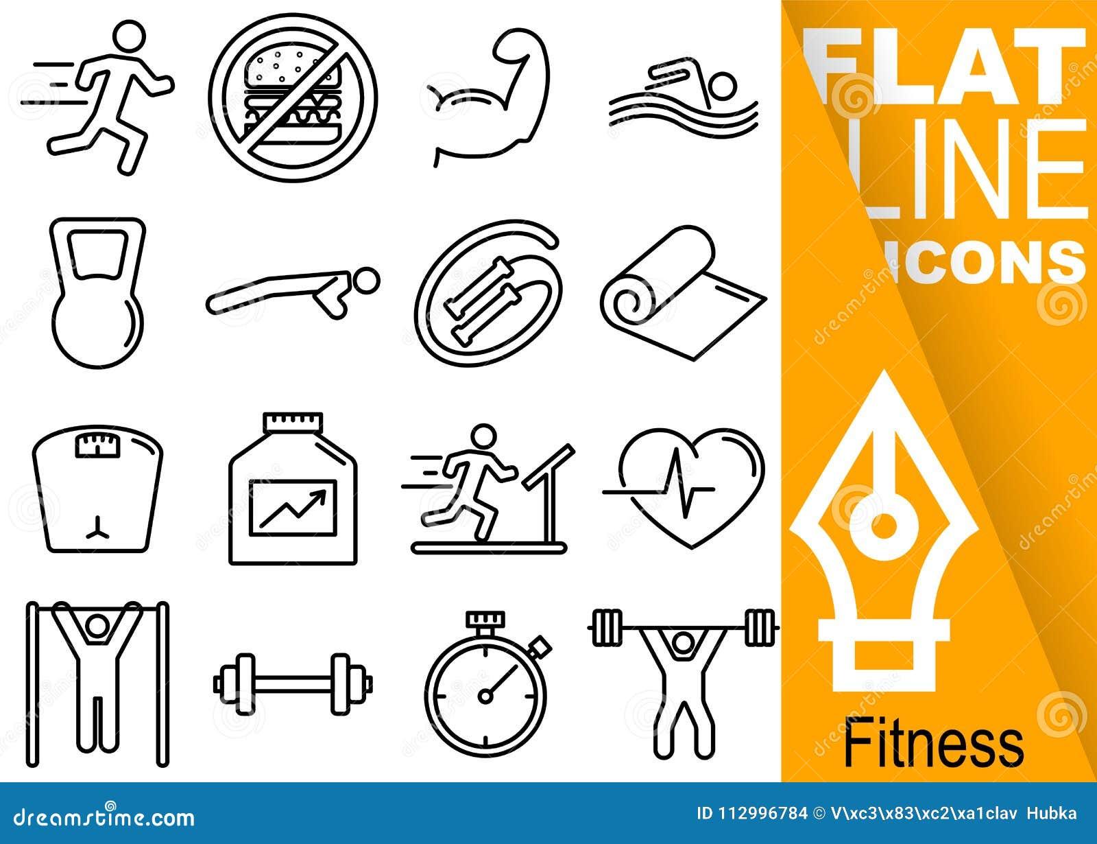 Pixel Editable de la course 70x70 Ensemble simple de ligne plate icônes avec la bannière orange verticale - course, muscles, bain