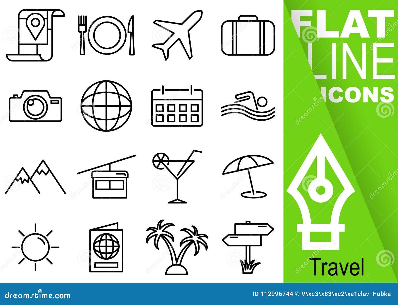 Pixel Editable de la course 70x70 Ensemble simple de ligne plate icônes du vecteur seize de voyage avec la bannière verte vertica