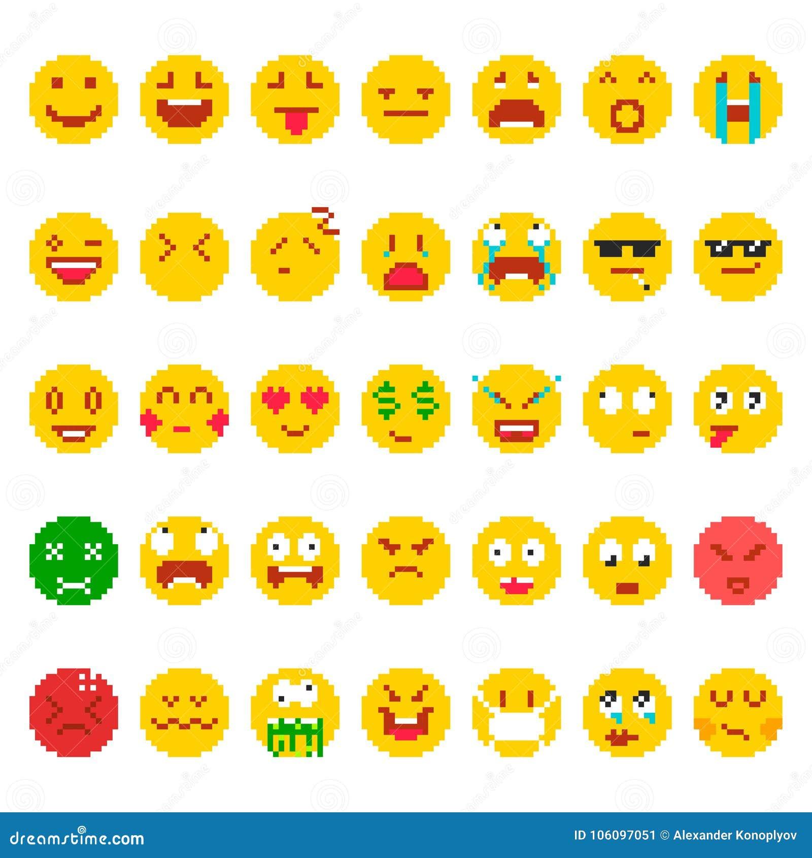 Pixel Emoji Set Stock Vector Illustration Of Creative 106097051
