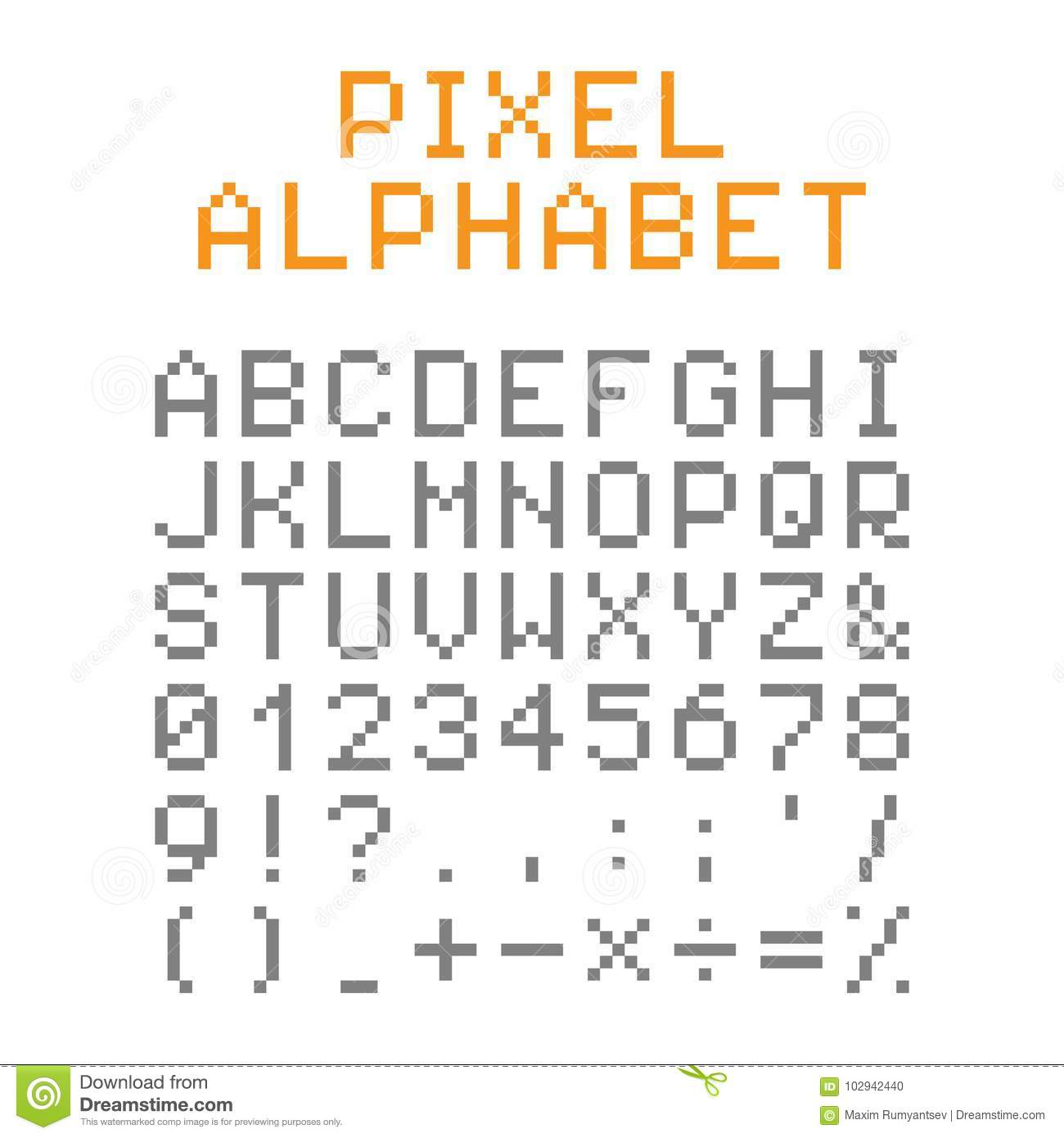 Pixel English Alphabet And Numbers. Pixel Font. Stock