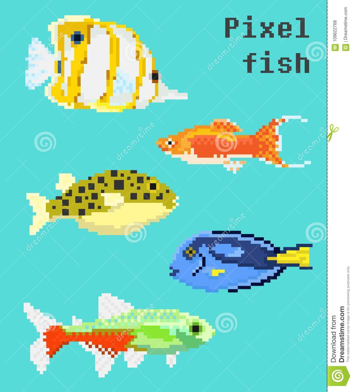 Pixel Exotic Fish Stock Vector Illustration Of Collection